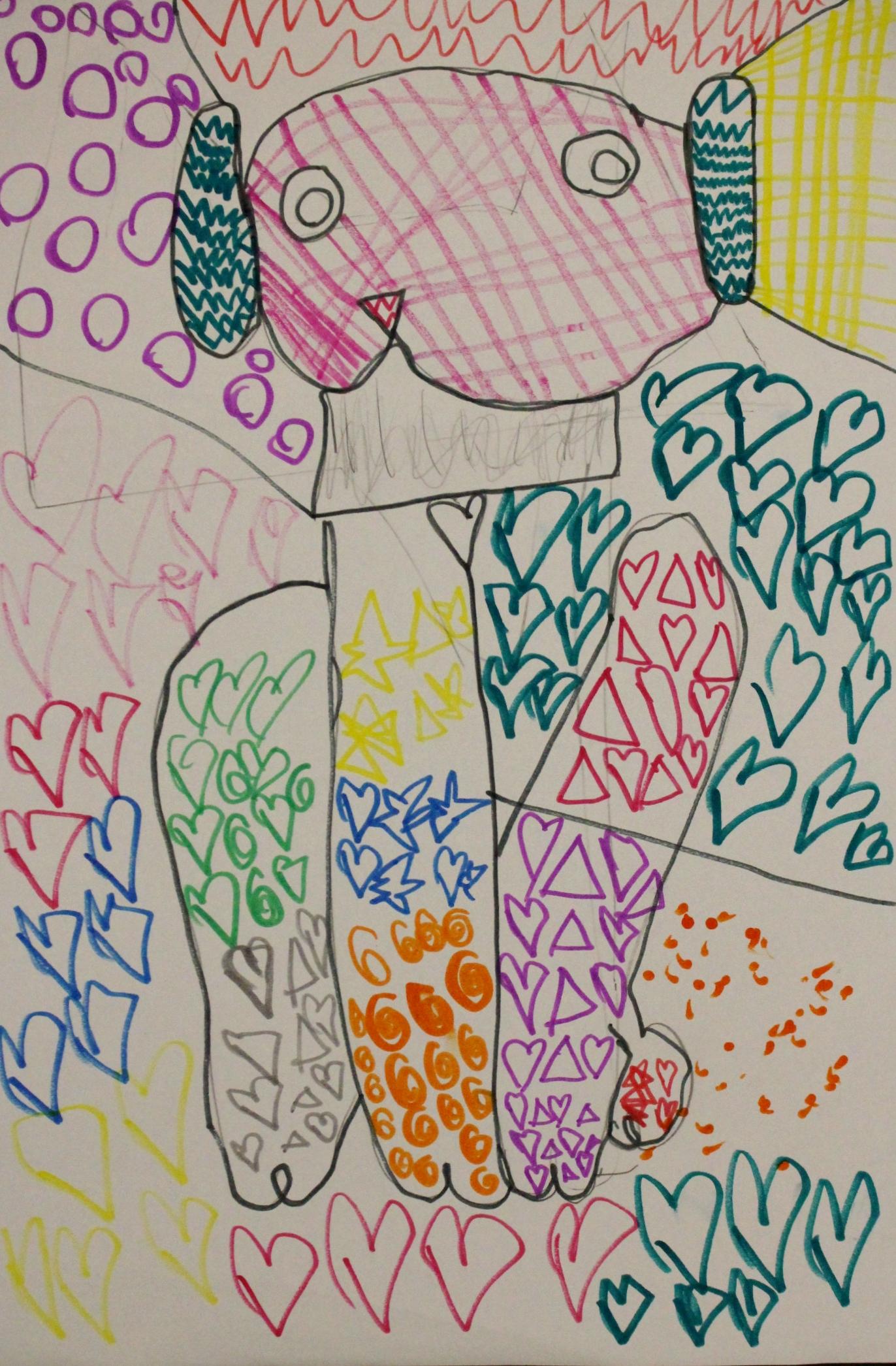 First Grade: Melany Haro (Romero Britto Inspired Art: Work In Progress)