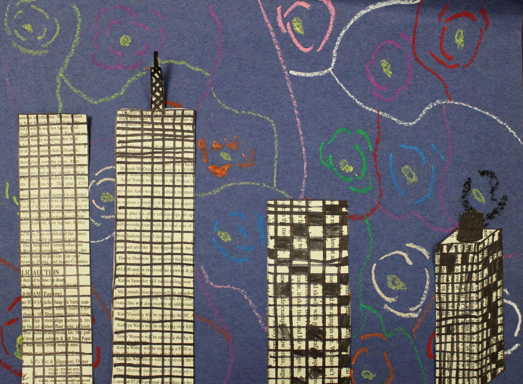 5th Grade: Marshall Kunz- Art Deco Starry Night(Work in Progress)