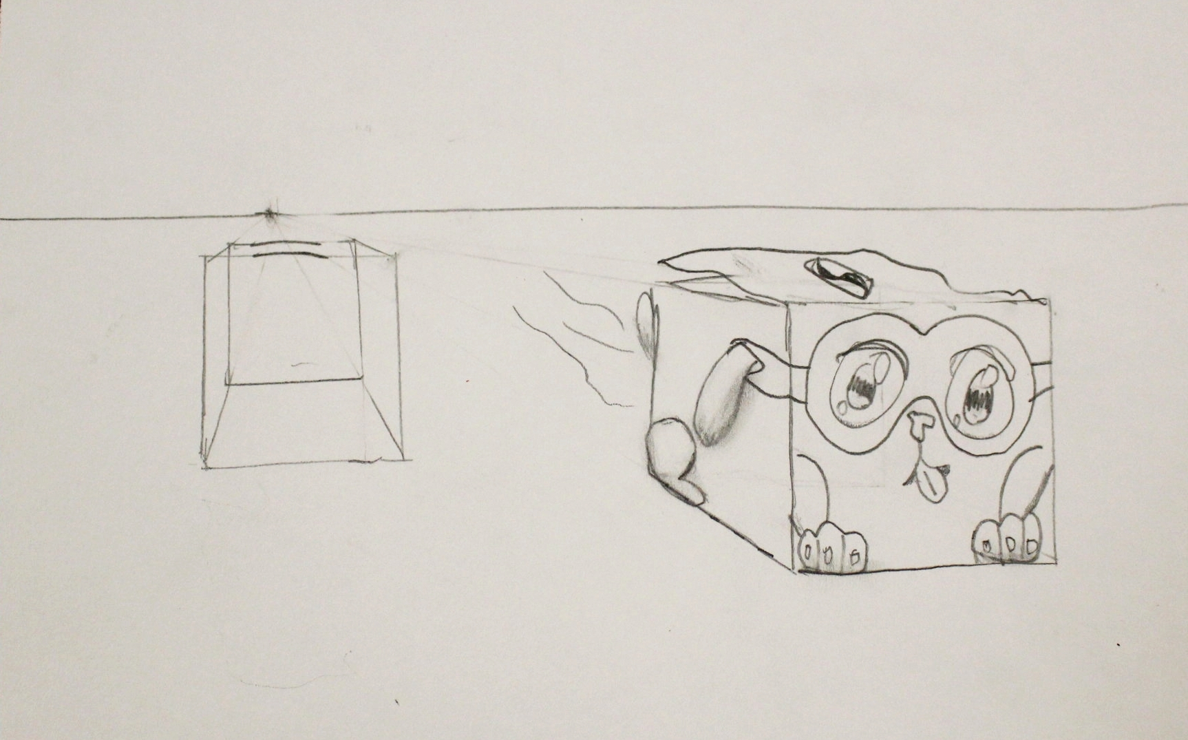 5th Grade: Chloe Peevyhouse (Surrealism Cube Sketch)
