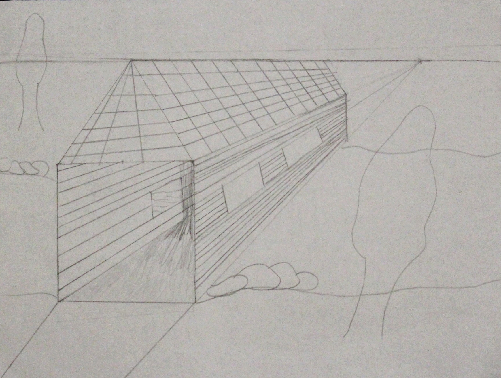 4th Grade: Andrea Lopez- Covered Bridge Sketch (Work In Progress)