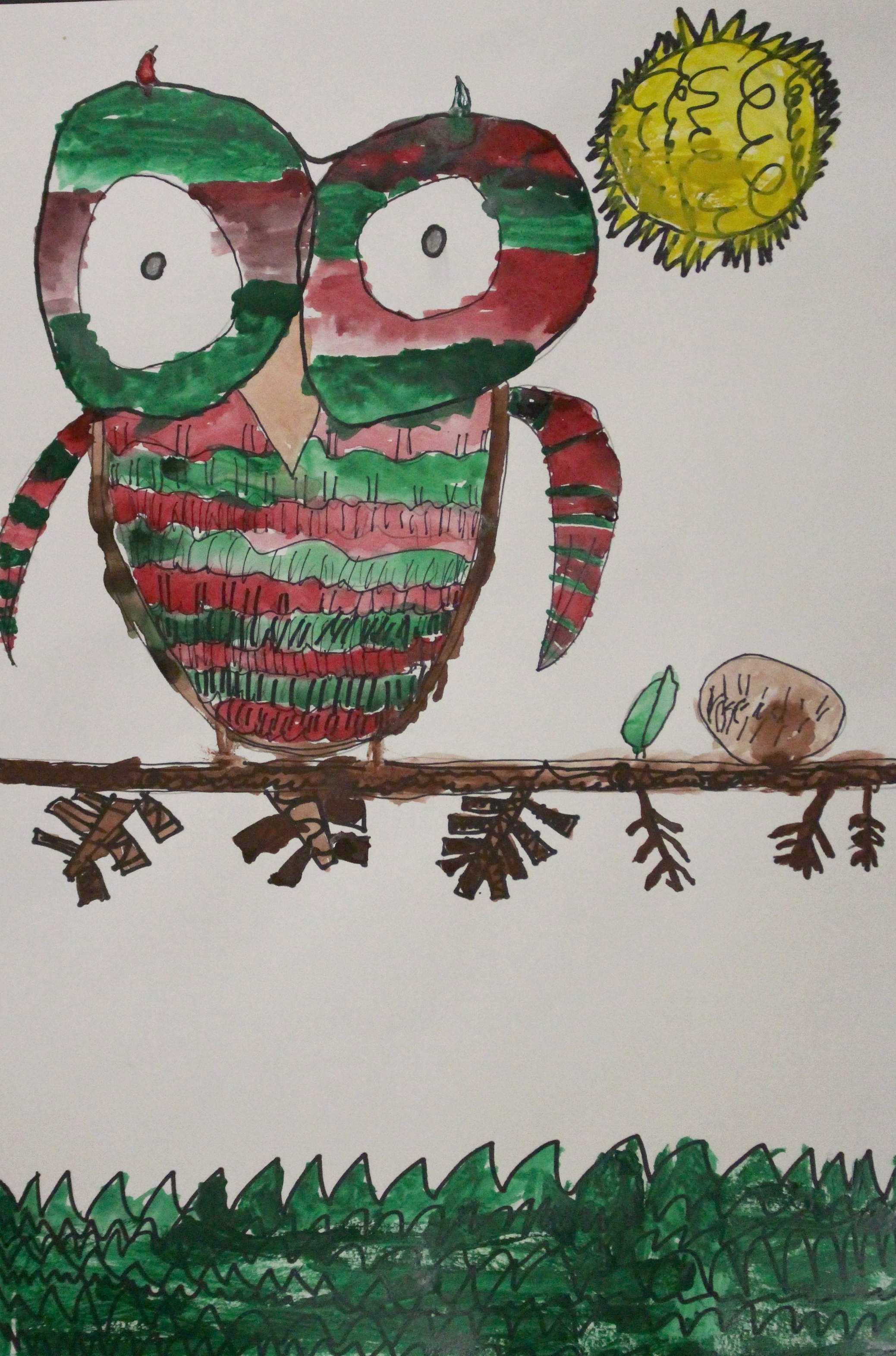 2nd Grade: Aiden Selvage- Textured Owls With Complimentary Colors(Work in Progress)