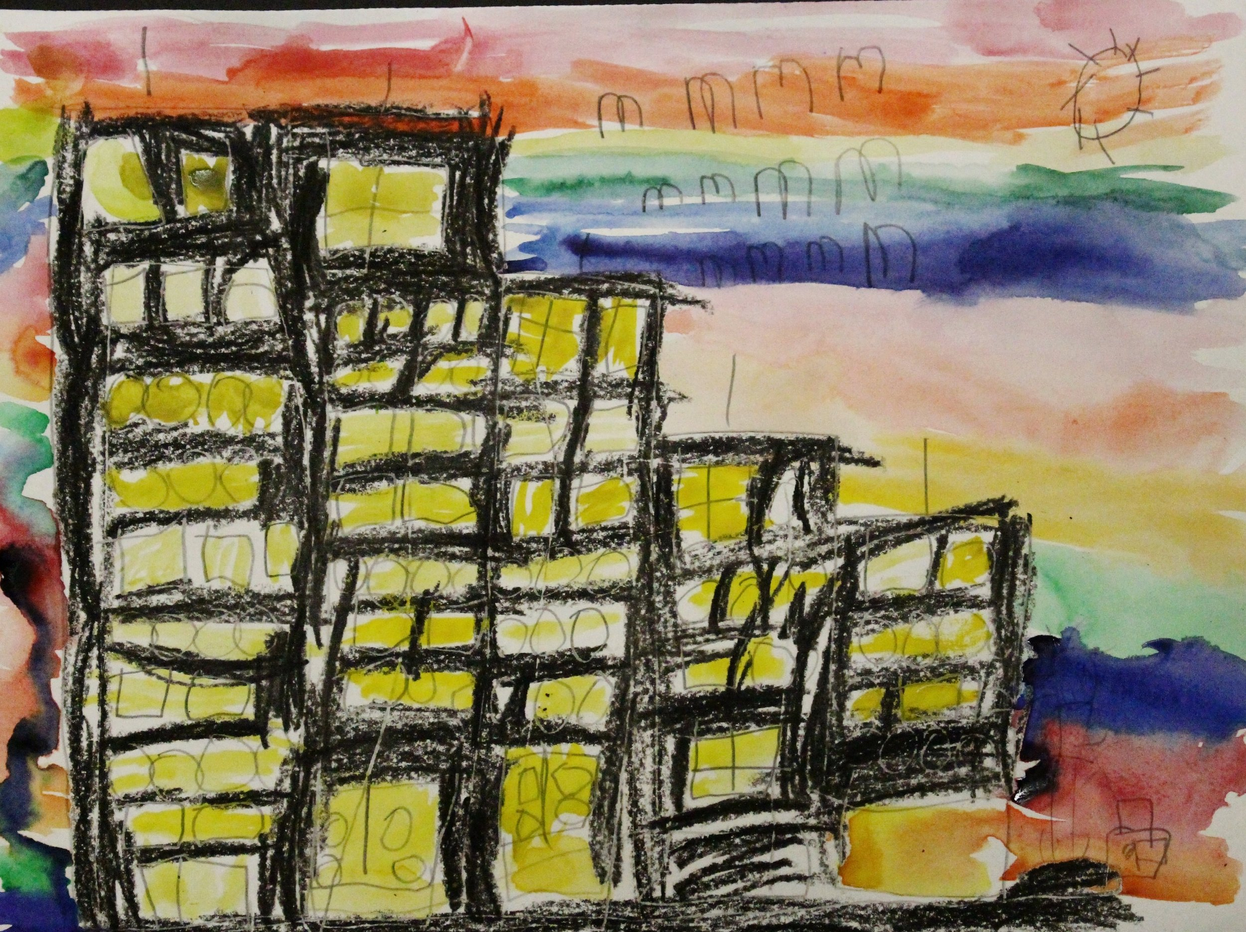 Kindergarten: Claire Dewing- Rainbow City Silhouette