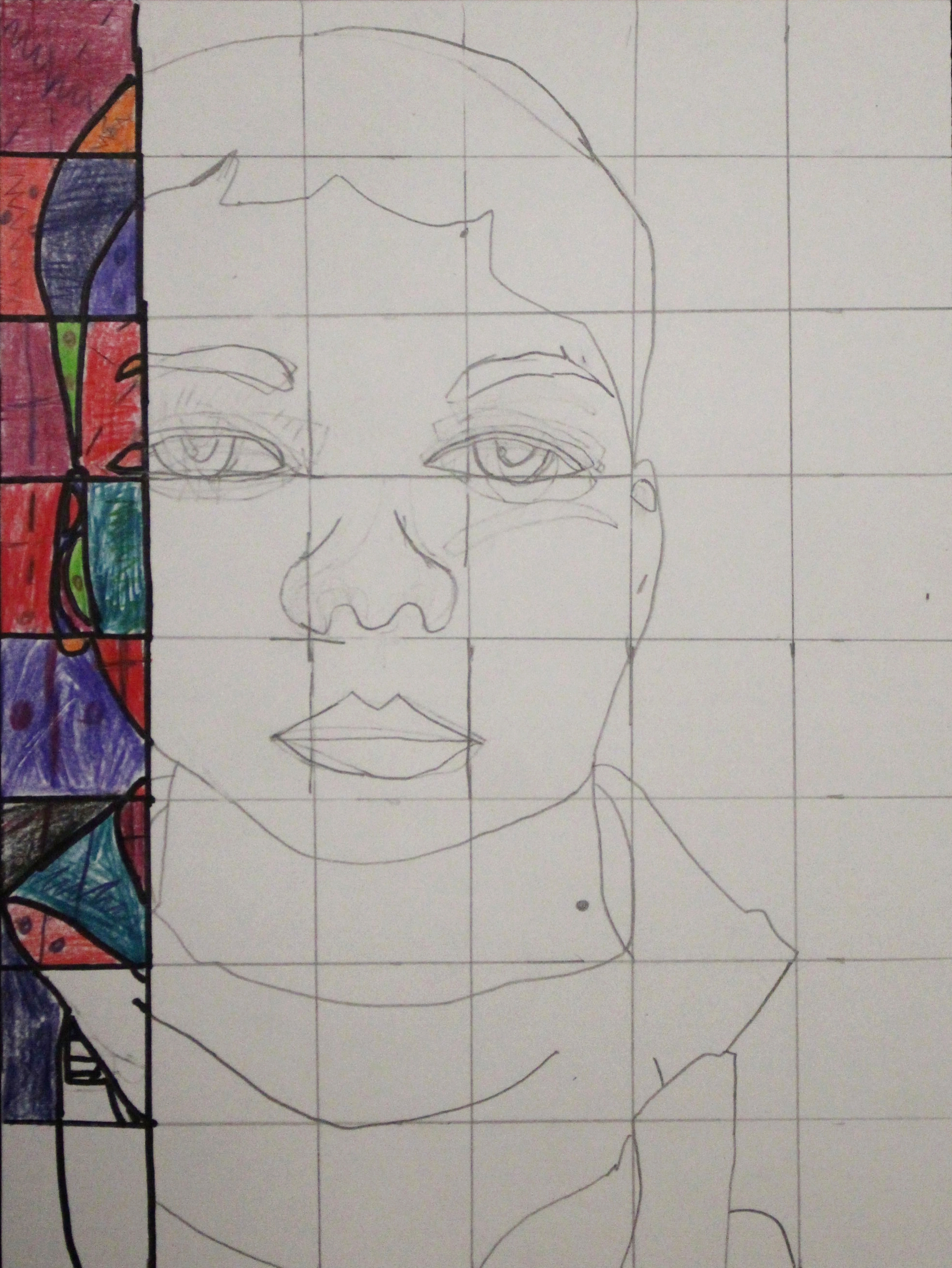 Fifth Grade: Aidan Mattox- Chuck Close Self Portrait(Work in Progress)