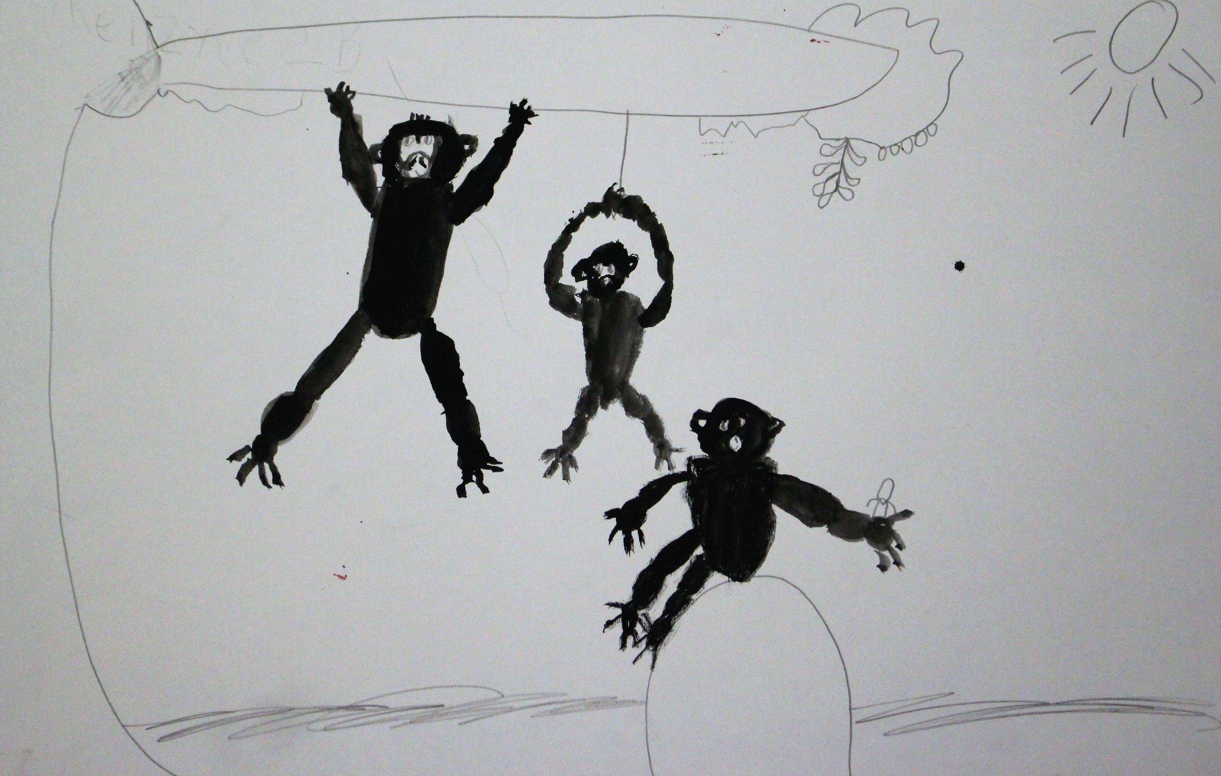 2nd Grade: Kenzyee R. - Artwork: Monkeys in Motion: Wang Yani(Work In Progress)