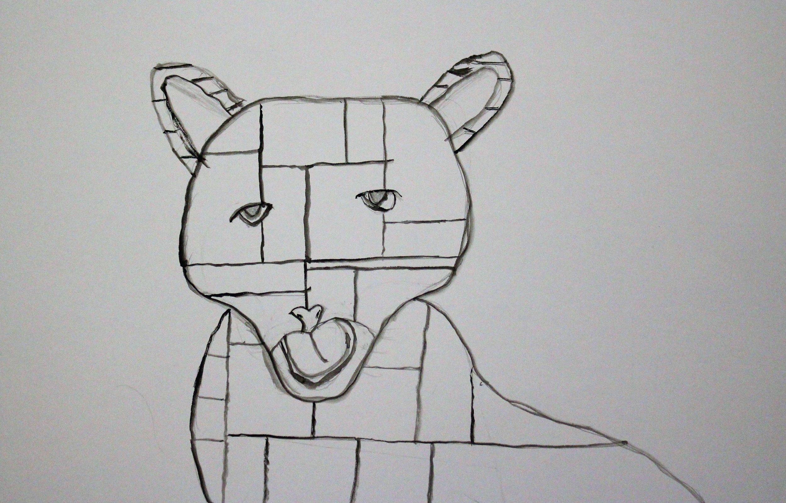 3rd Grade:Hope G. - Artwork: Mondrian Jungle Animals(Work In Progress)
