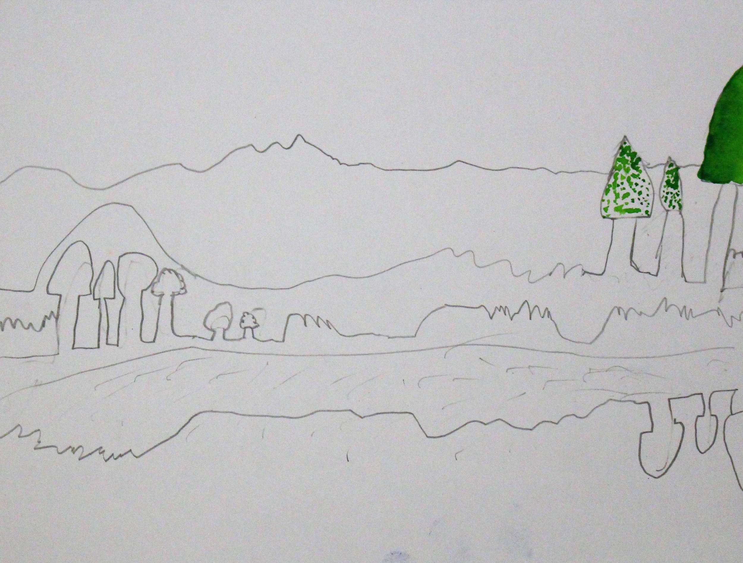 4th Grade: Robert B. - Artwork: Impressionists/Post-Impressionist Landscapes(Work In Progress)