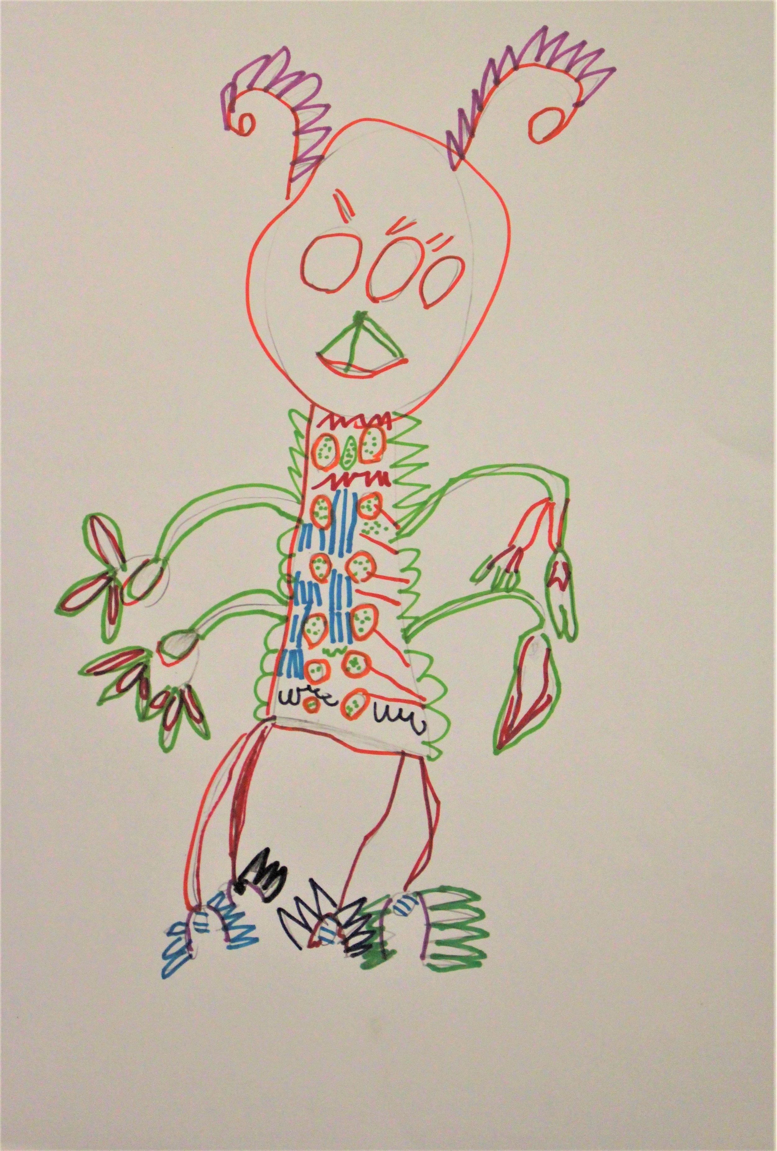 1st Grade: Leland B. - Artwork: My Monster(Work in Progress)