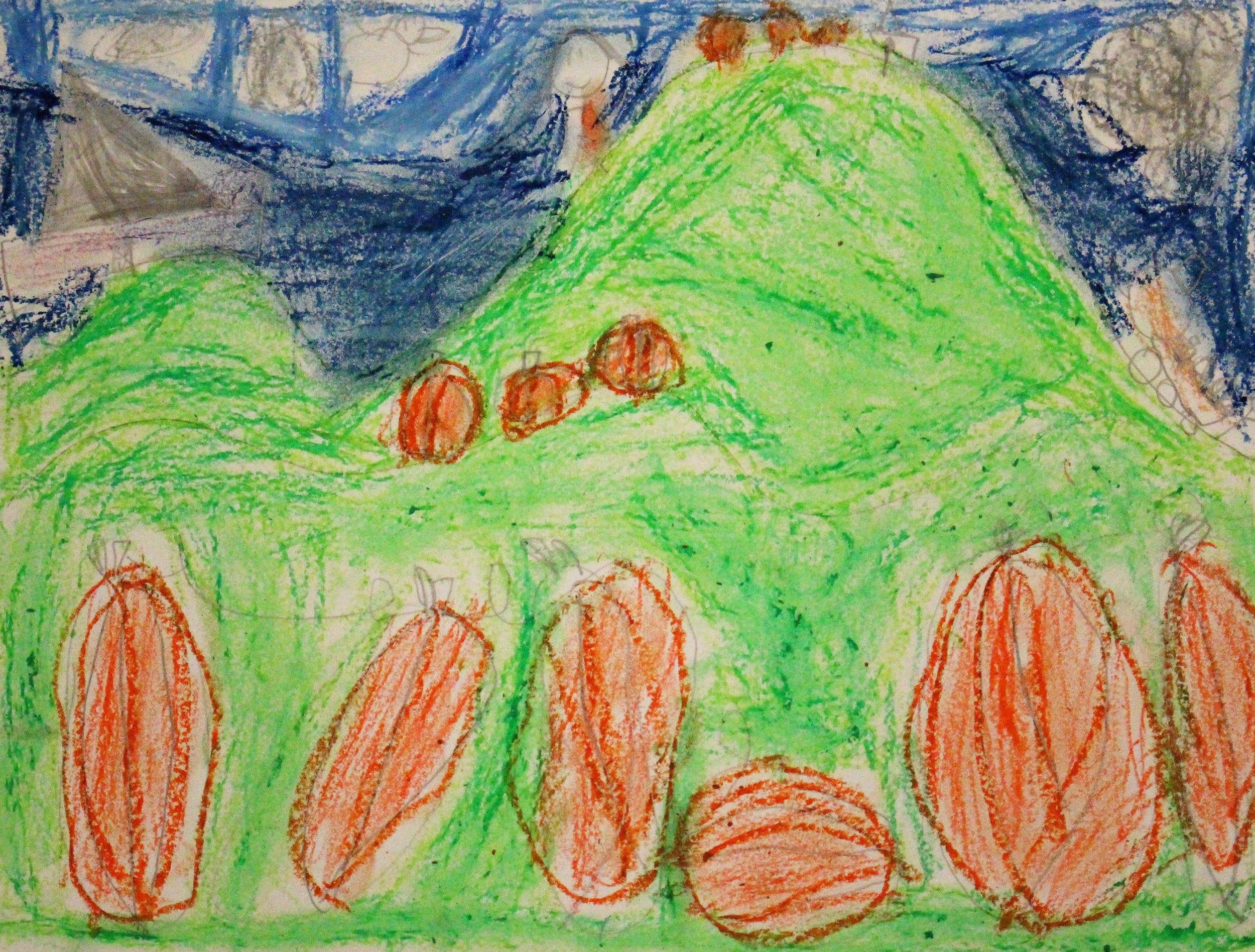 1st Grade: Kimberly C. - Artwork: Landscapes: Pumpkin Patch