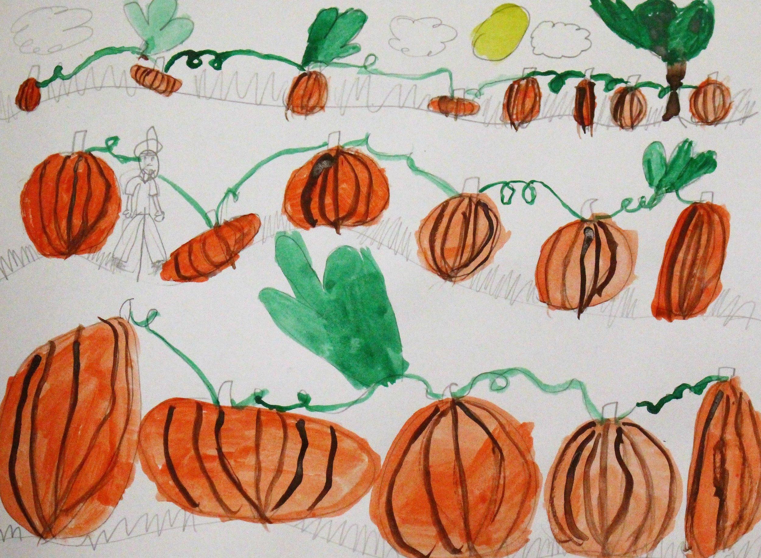 2nd Grade: Adalyn S. - Artwork: Landscapes-Pumpkin Patch(Work in Progress)