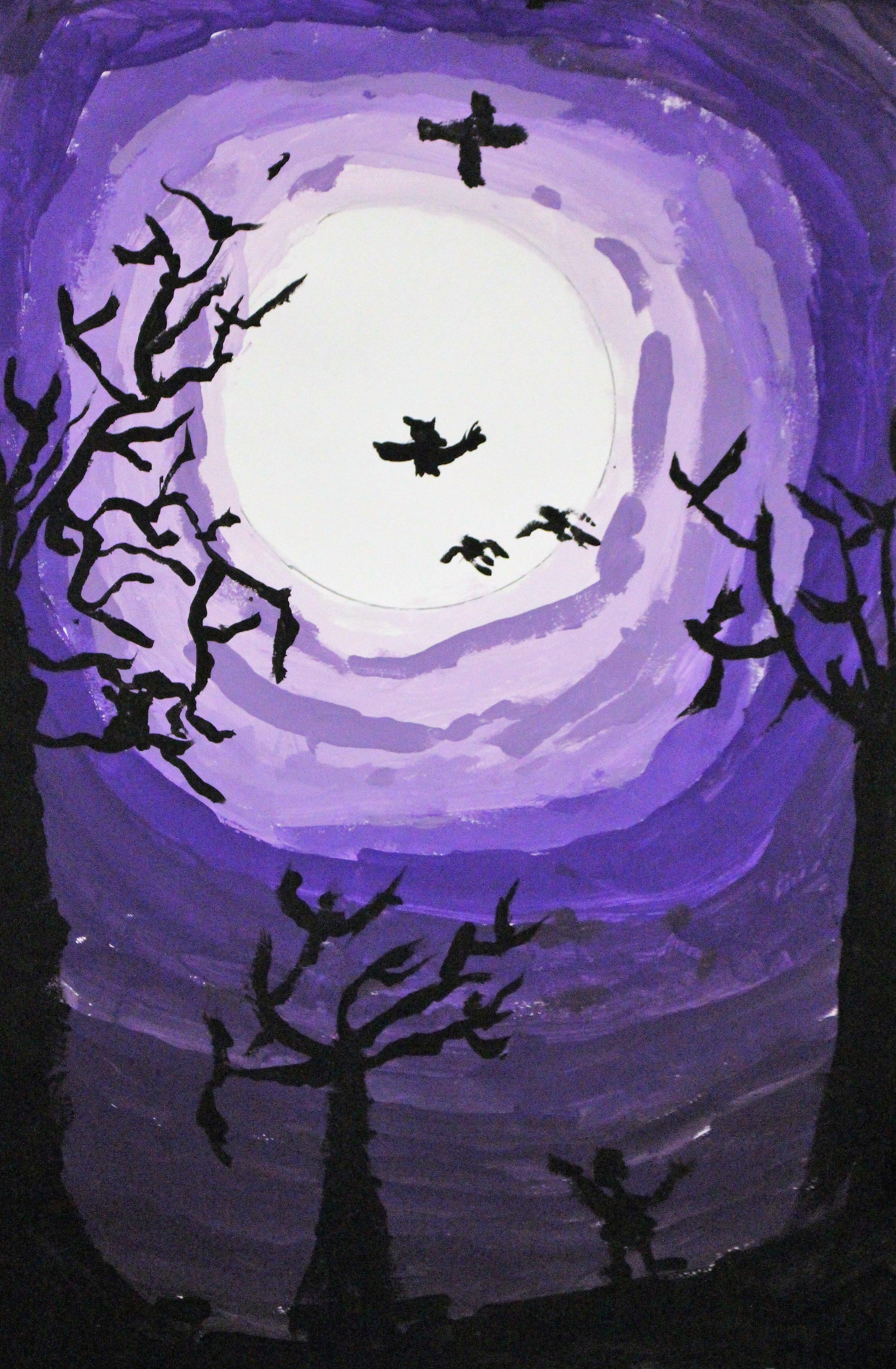 4th Grade:Sage B. - Artwork: Fall Tree Silhouettes