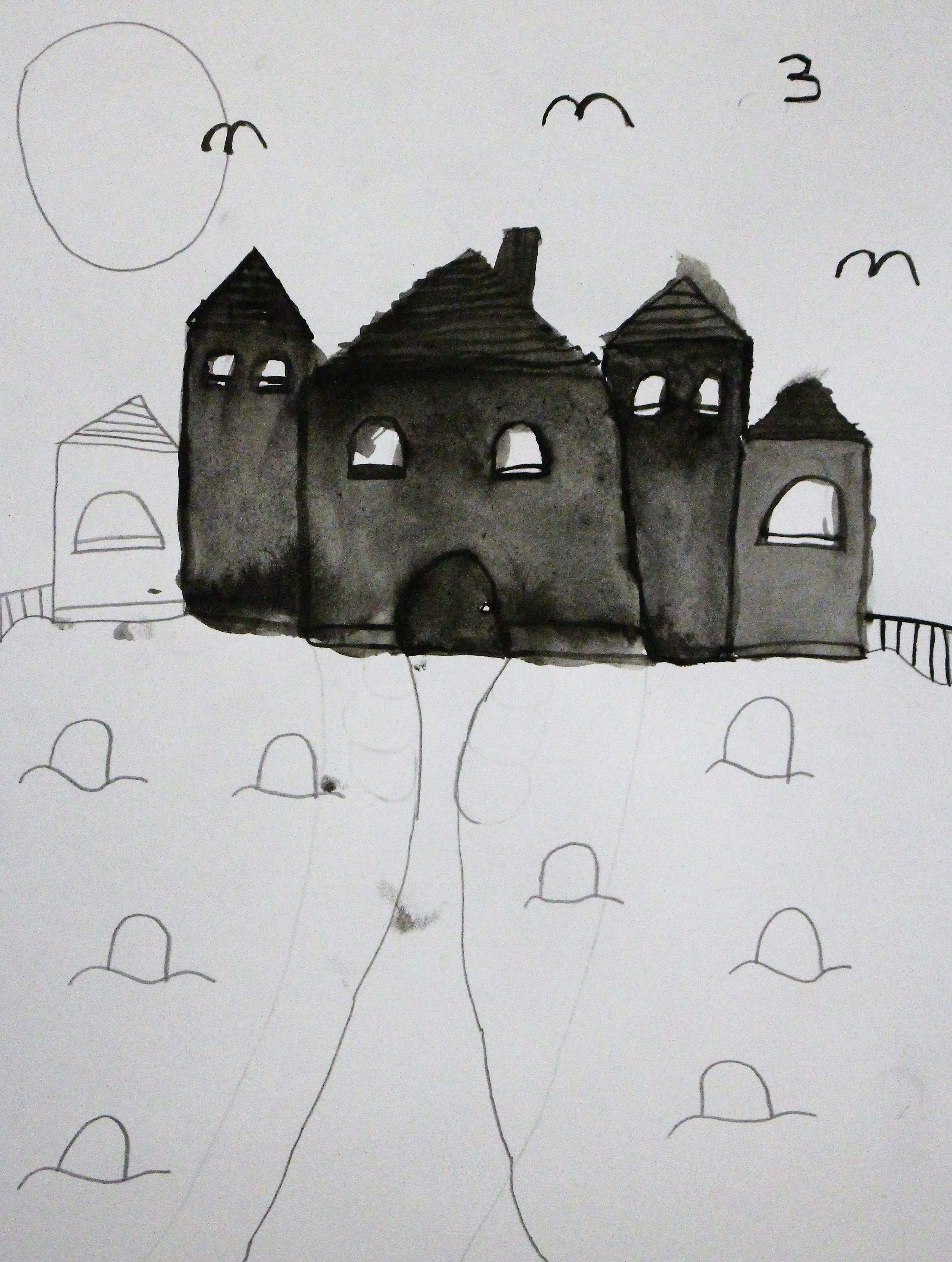 5th Grade: Avalin B. - Artwork: Spooky Victorian Home Silhouette(Work in Progress)