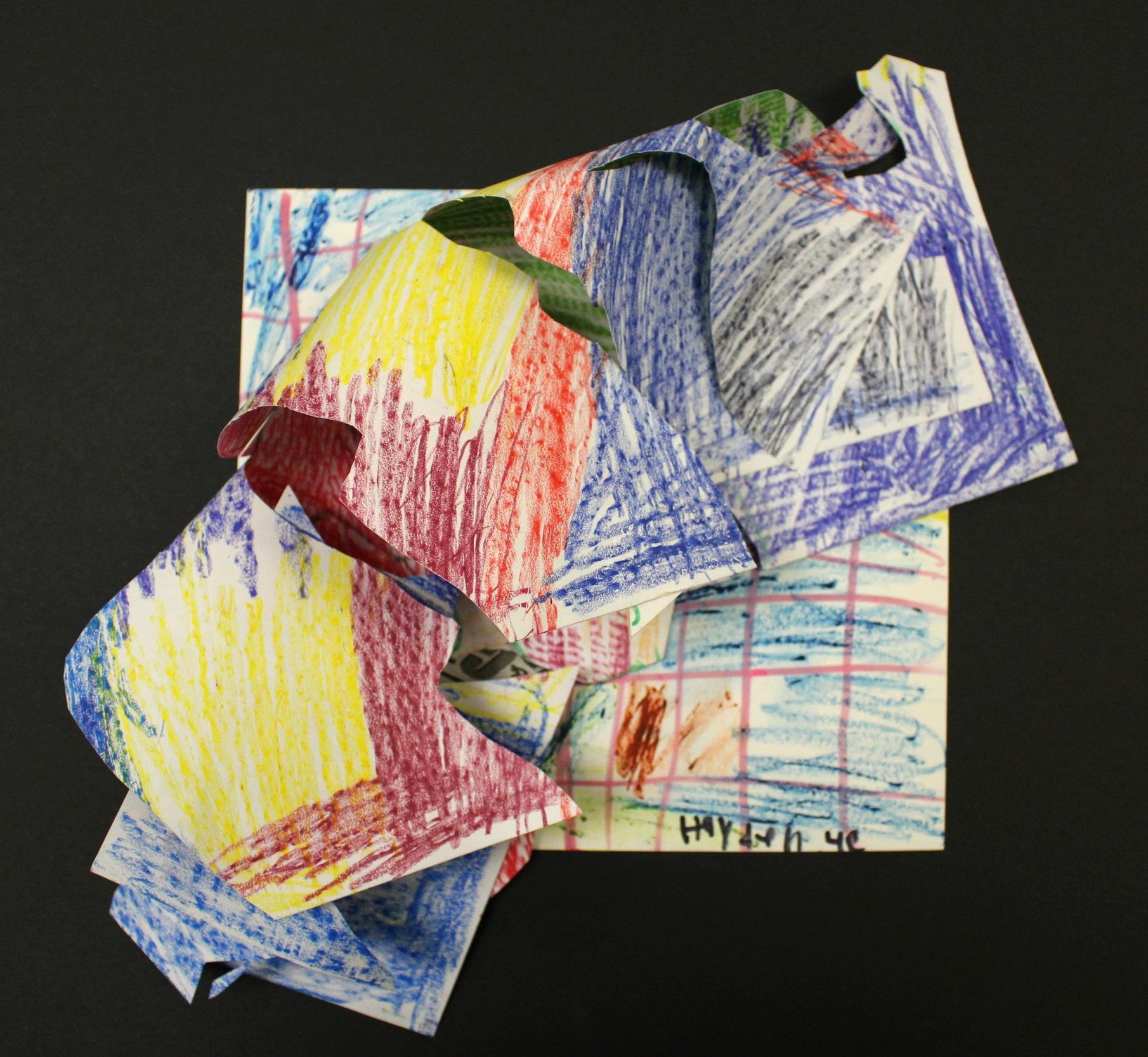 Grade 4: Hayden B. - Frank Stella Inspired Relief Sculpture