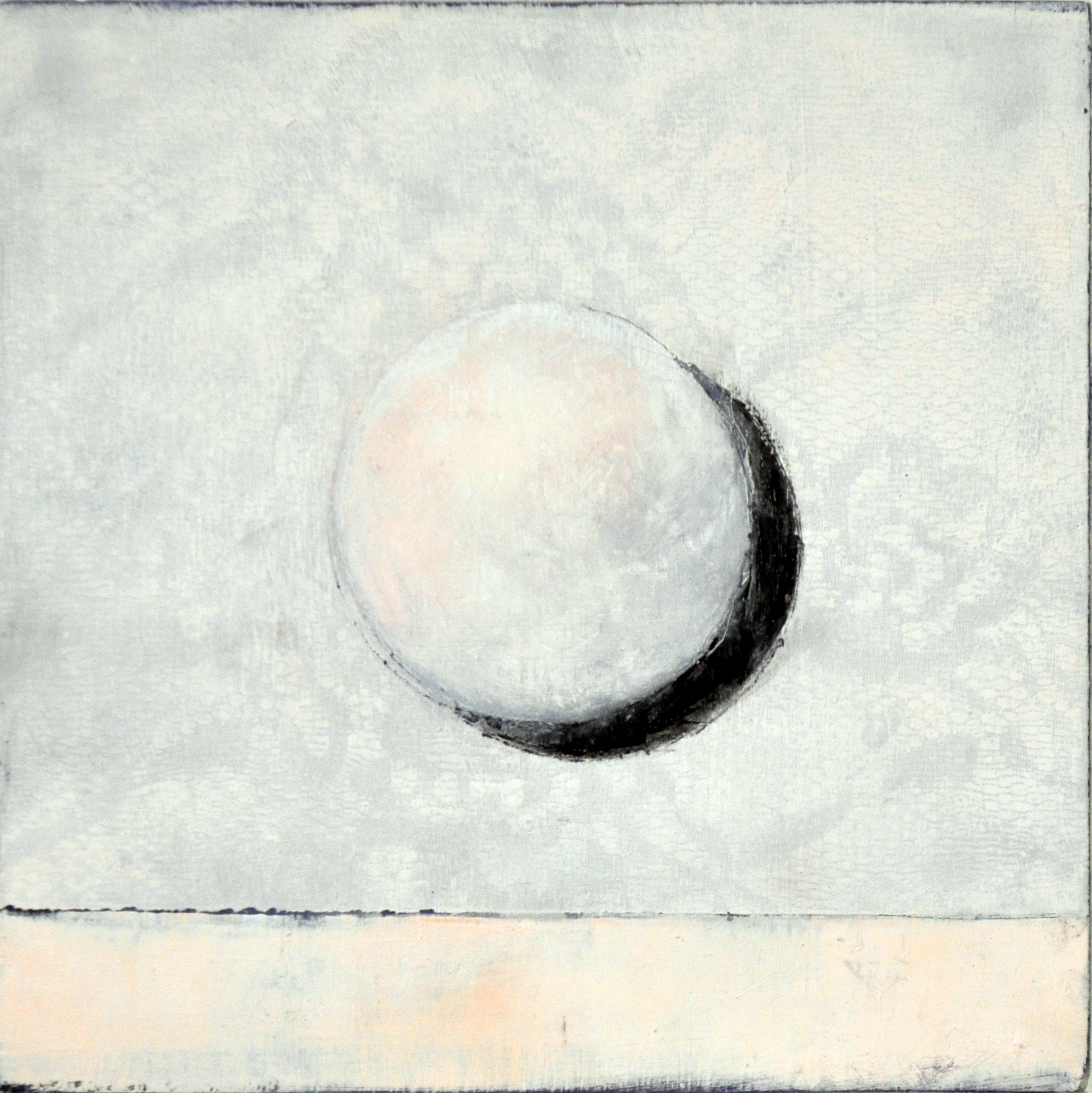 Lace Moon, Oil and Cold Wax on Panel, 8 x 8 inches