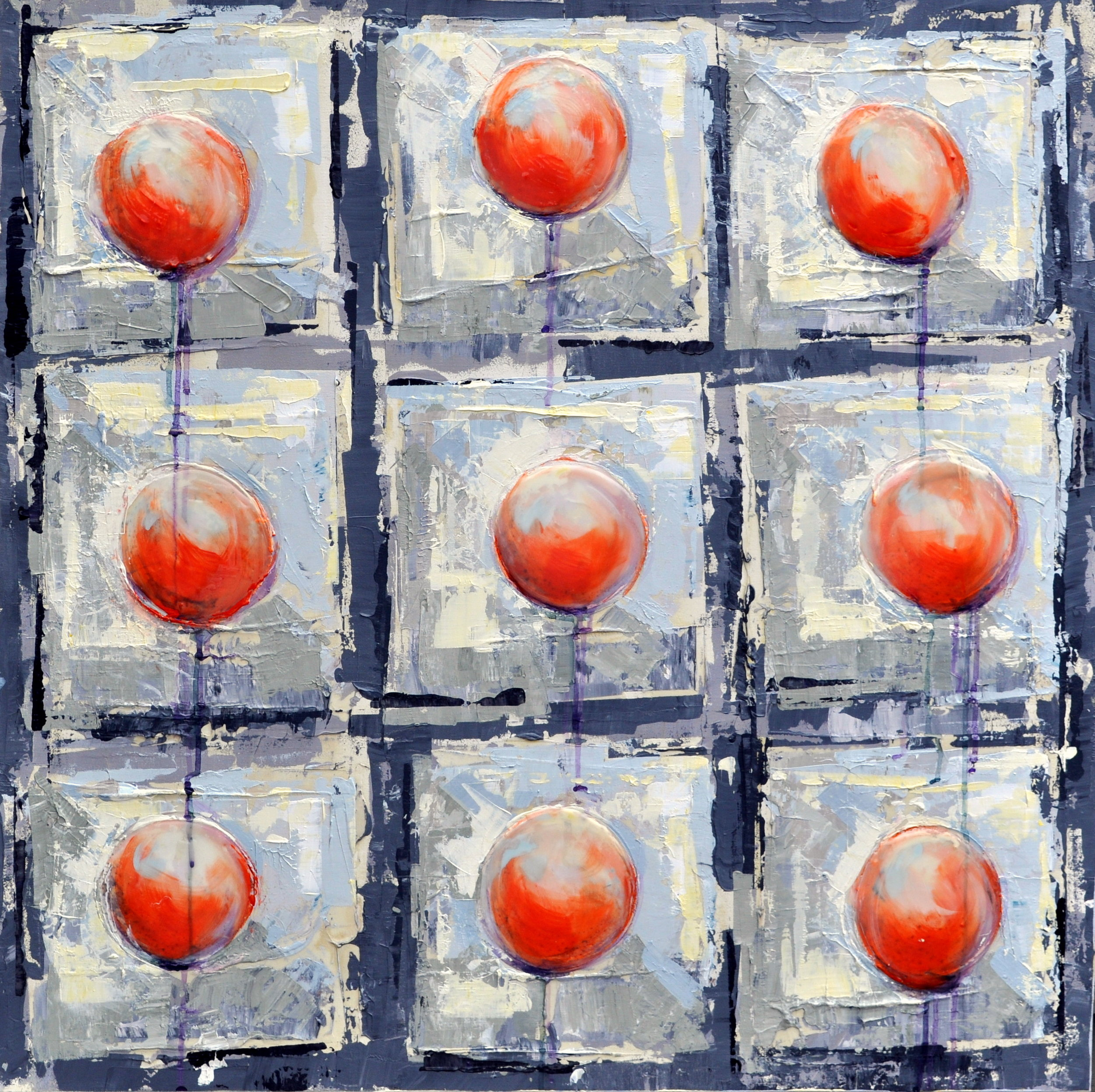 Available Painting: 9 Red Balloons VIII, Acrylic on Canvas, 36x36 inches