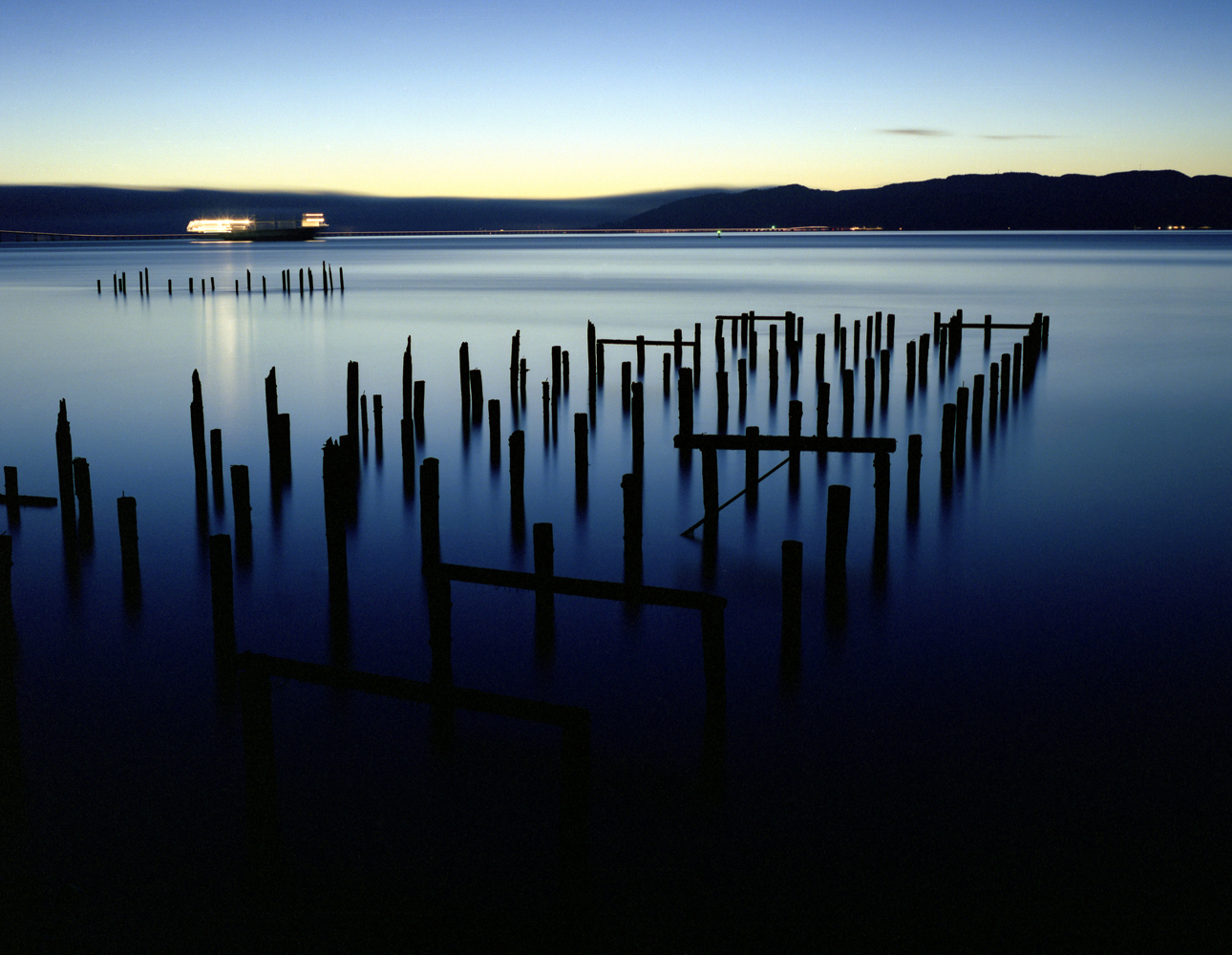 Pilings and Passing Ship, Columbia River