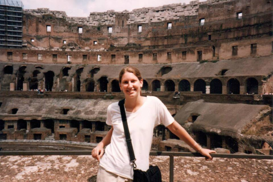 Teressa at the Coliseum in Rome in 1998