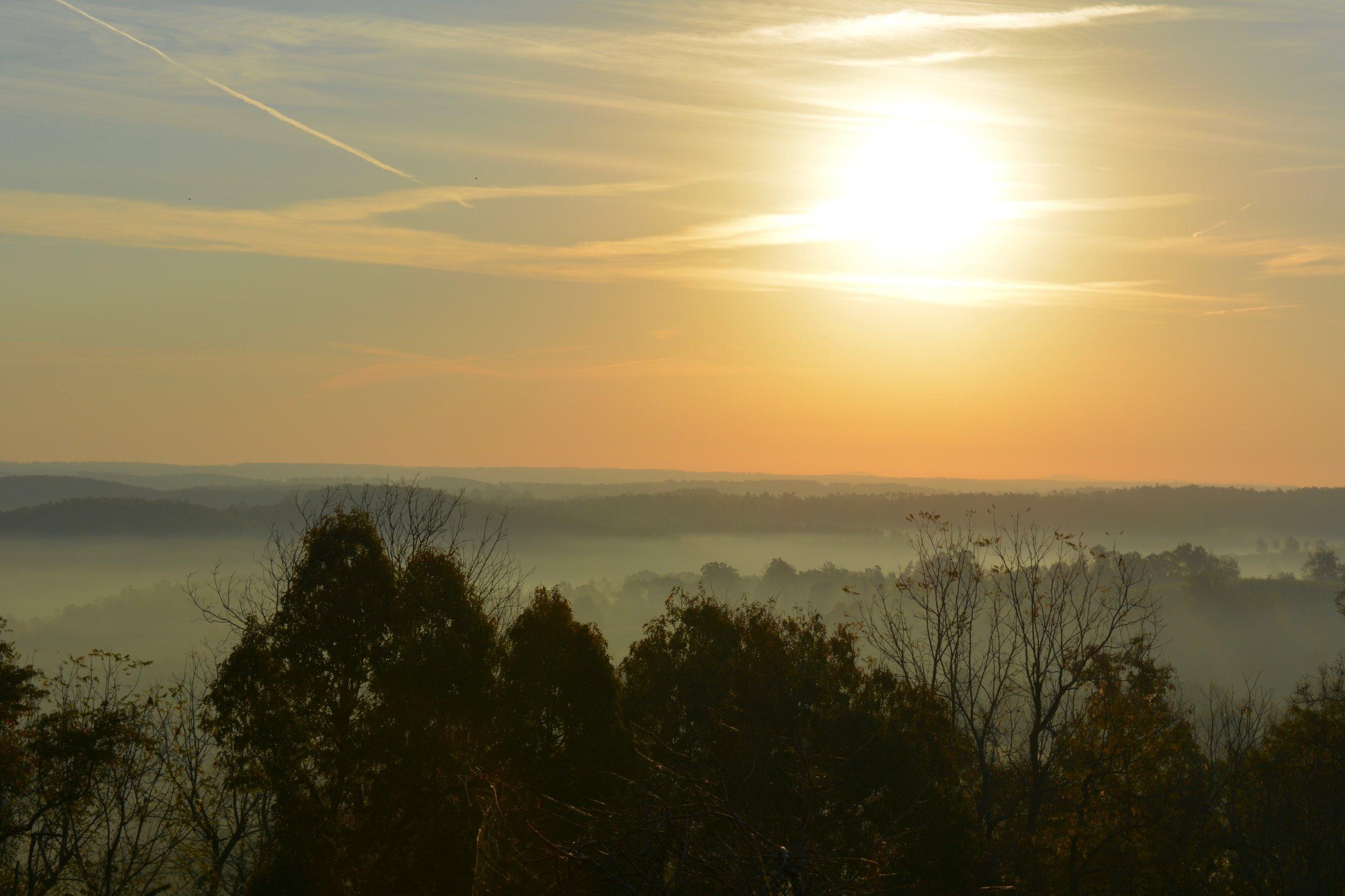 My morning view leaving Eureka Springs, near Morgan, Arkansas
