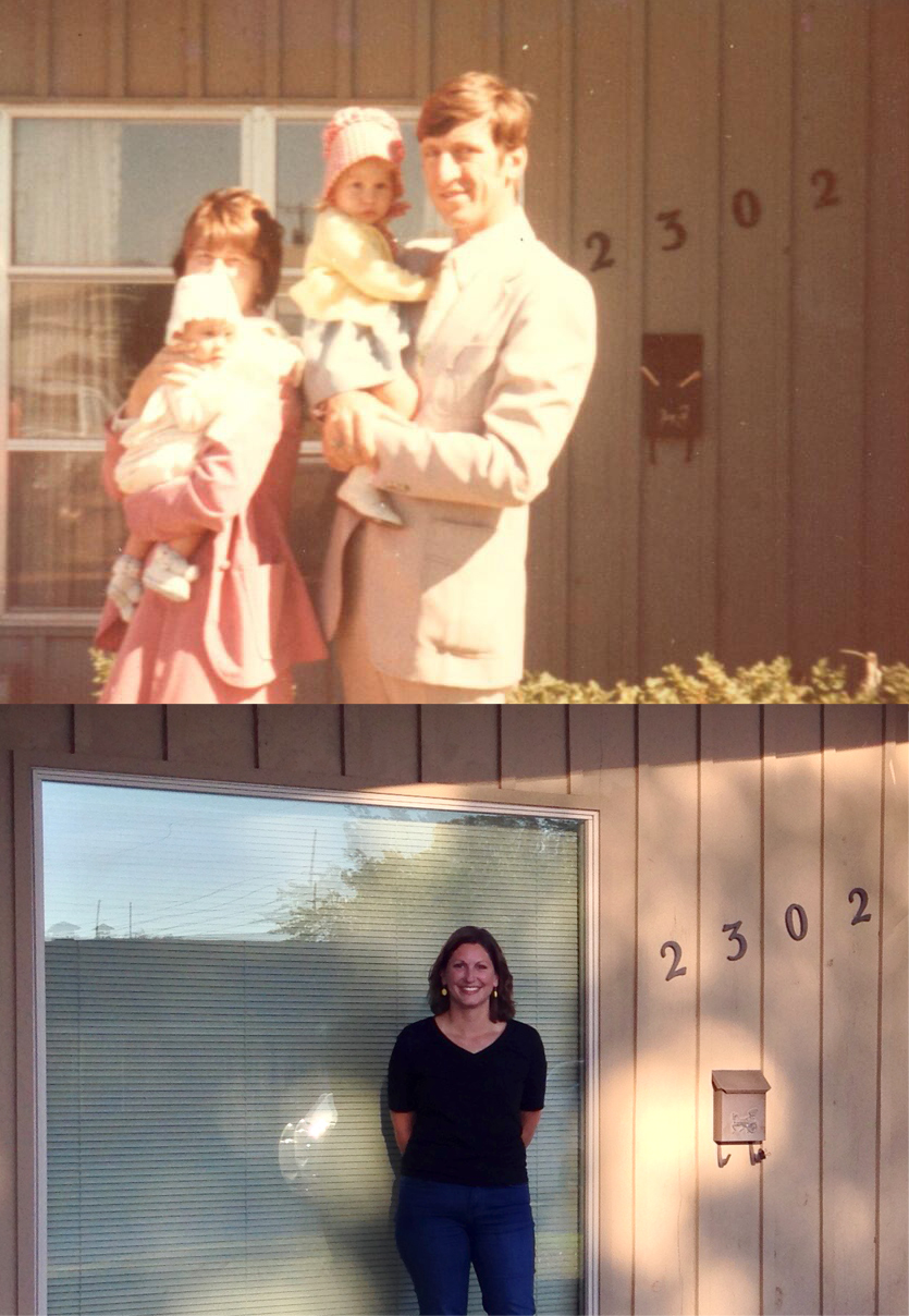 My family in front of the house in 1976, and me in the same spot in 2016