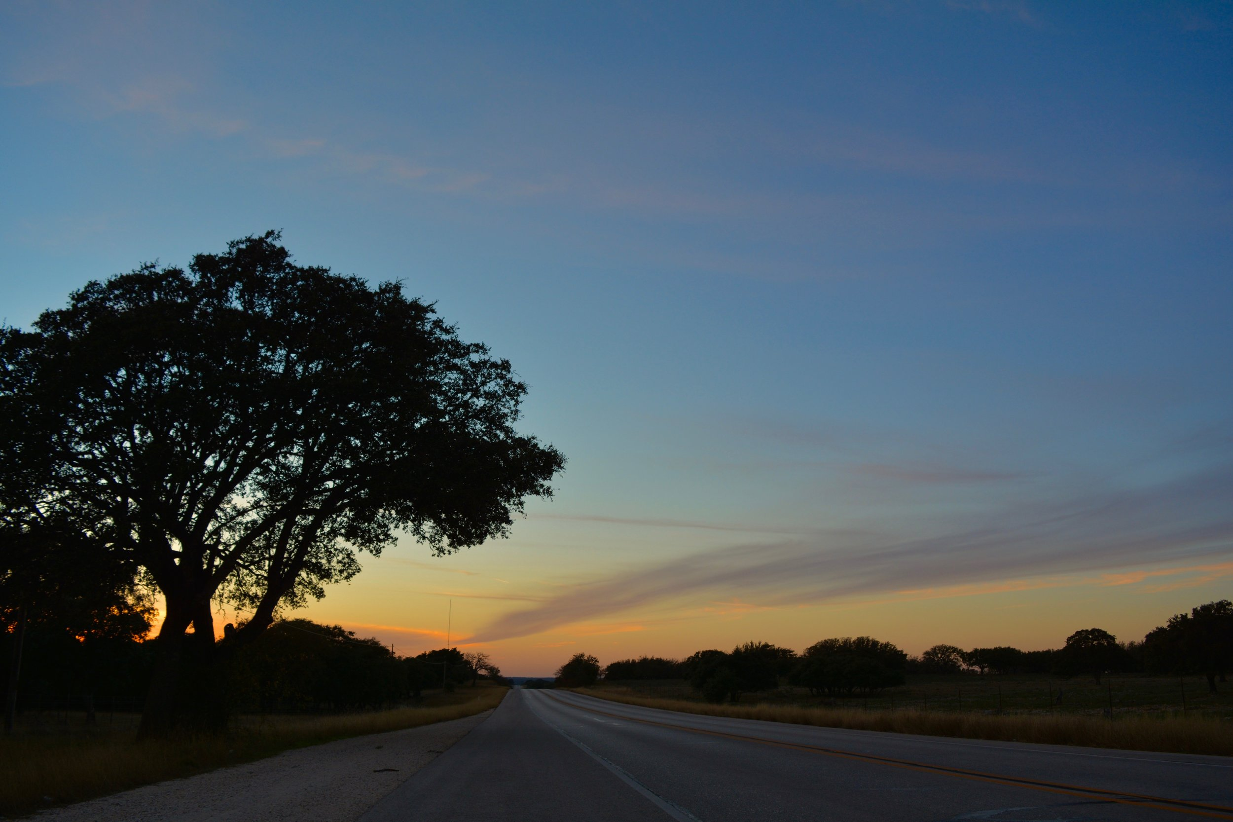 Sunset along Highway 290 in Texas