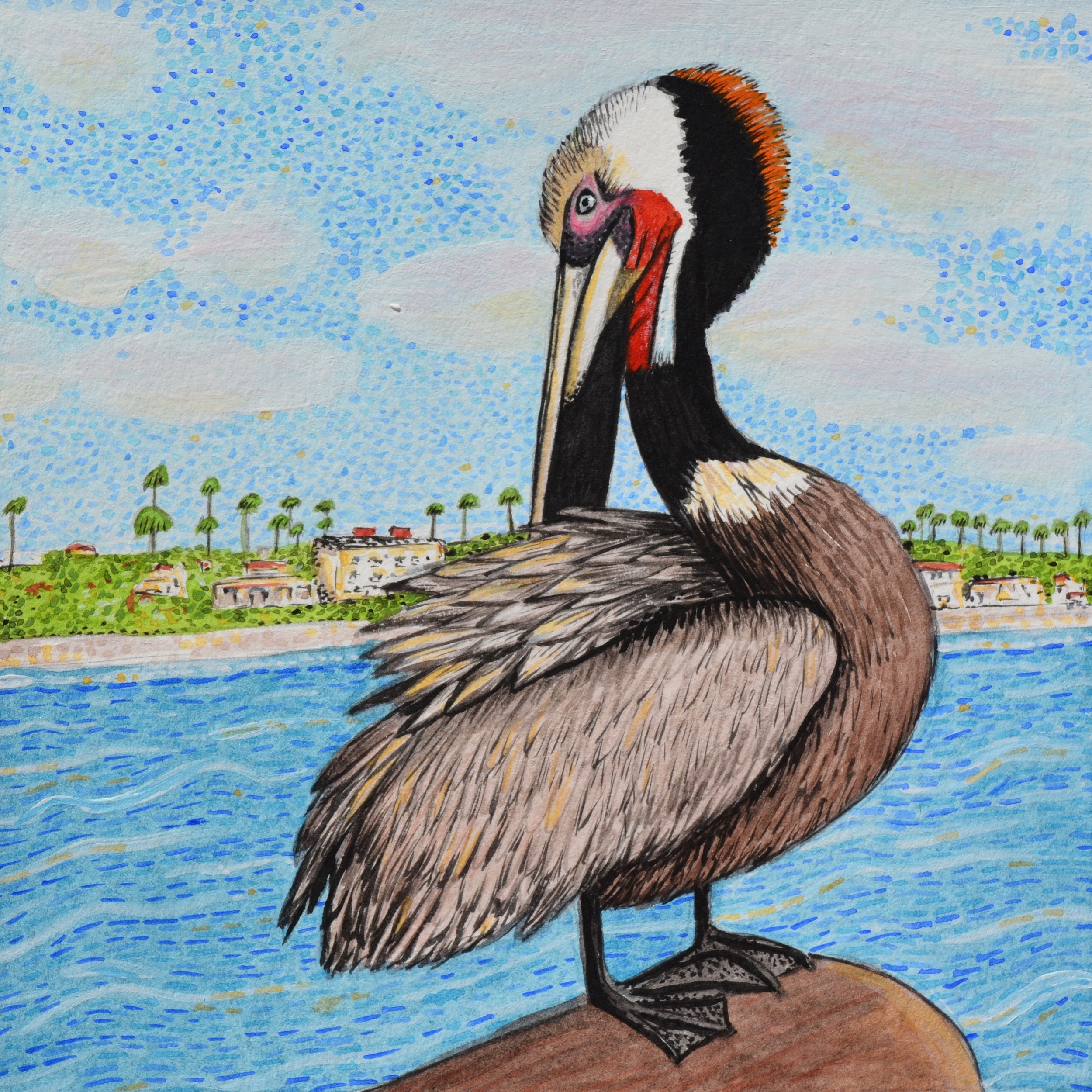 One of my favorite pieces I created in Fallbrook, inspired by a pelican I saw on the pier at Oceanside, CA