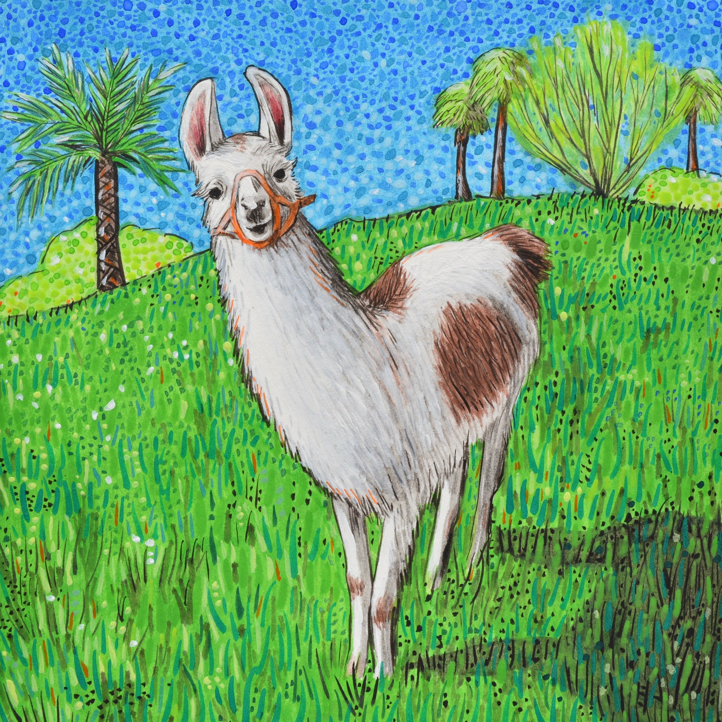 Painting of Dolly Llama I created for Tricia in gratitude for her hospitality