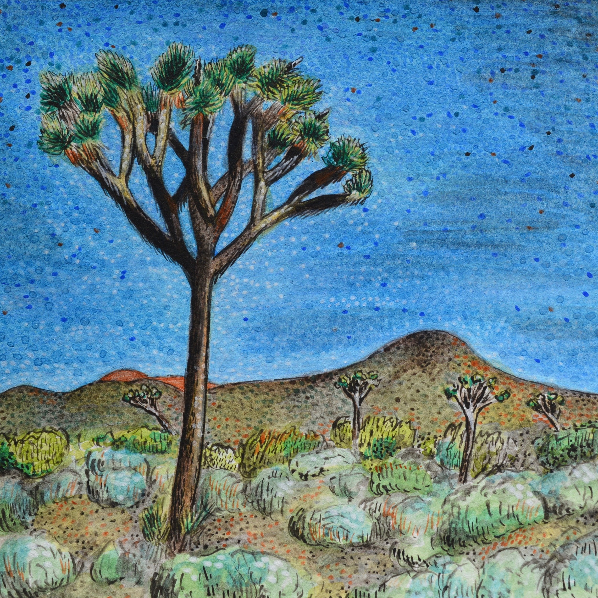 My Painting of a Joshua Tree Landscape