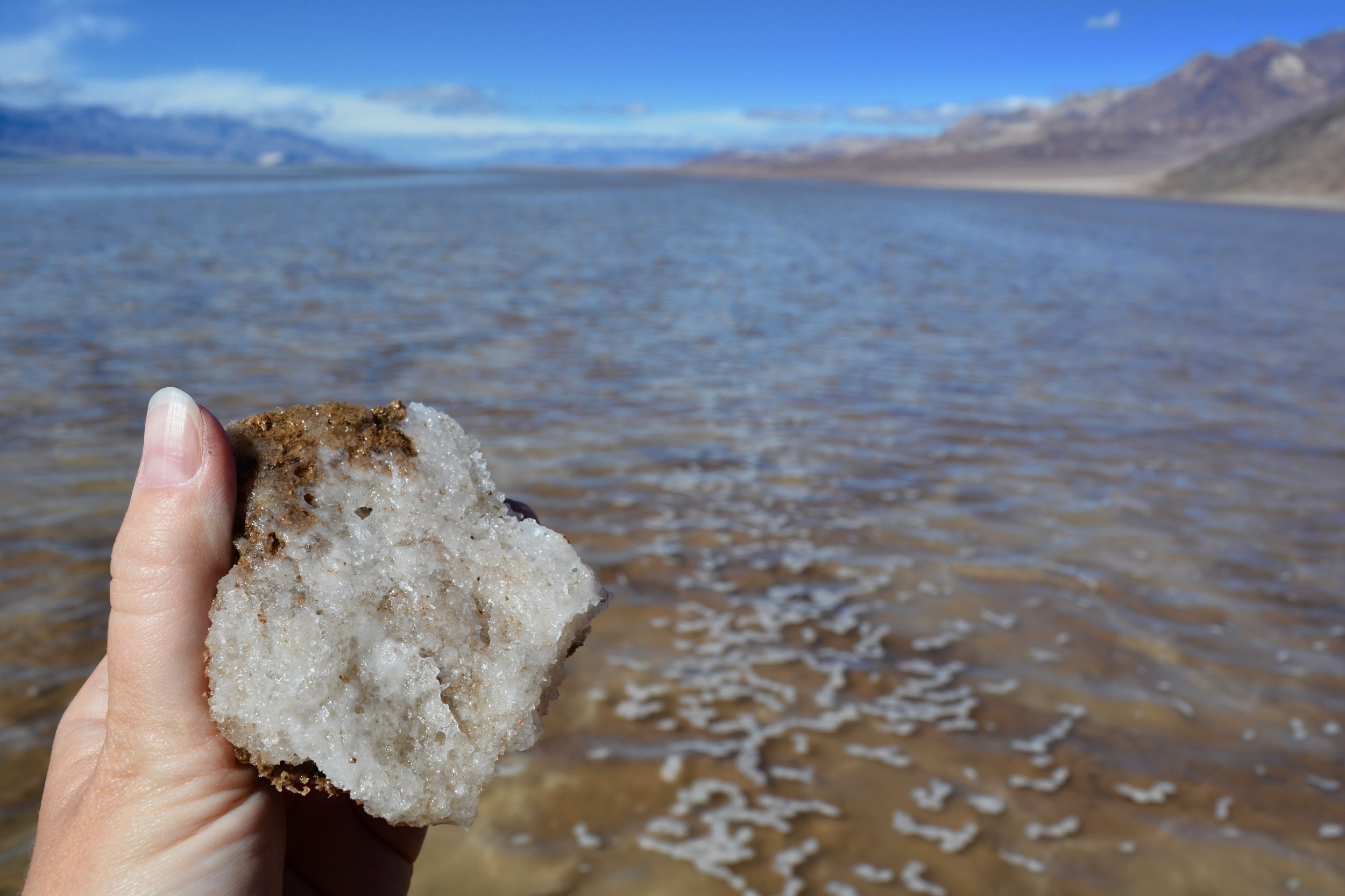 Salt in Badwater Basin, which was underwater during my visit
