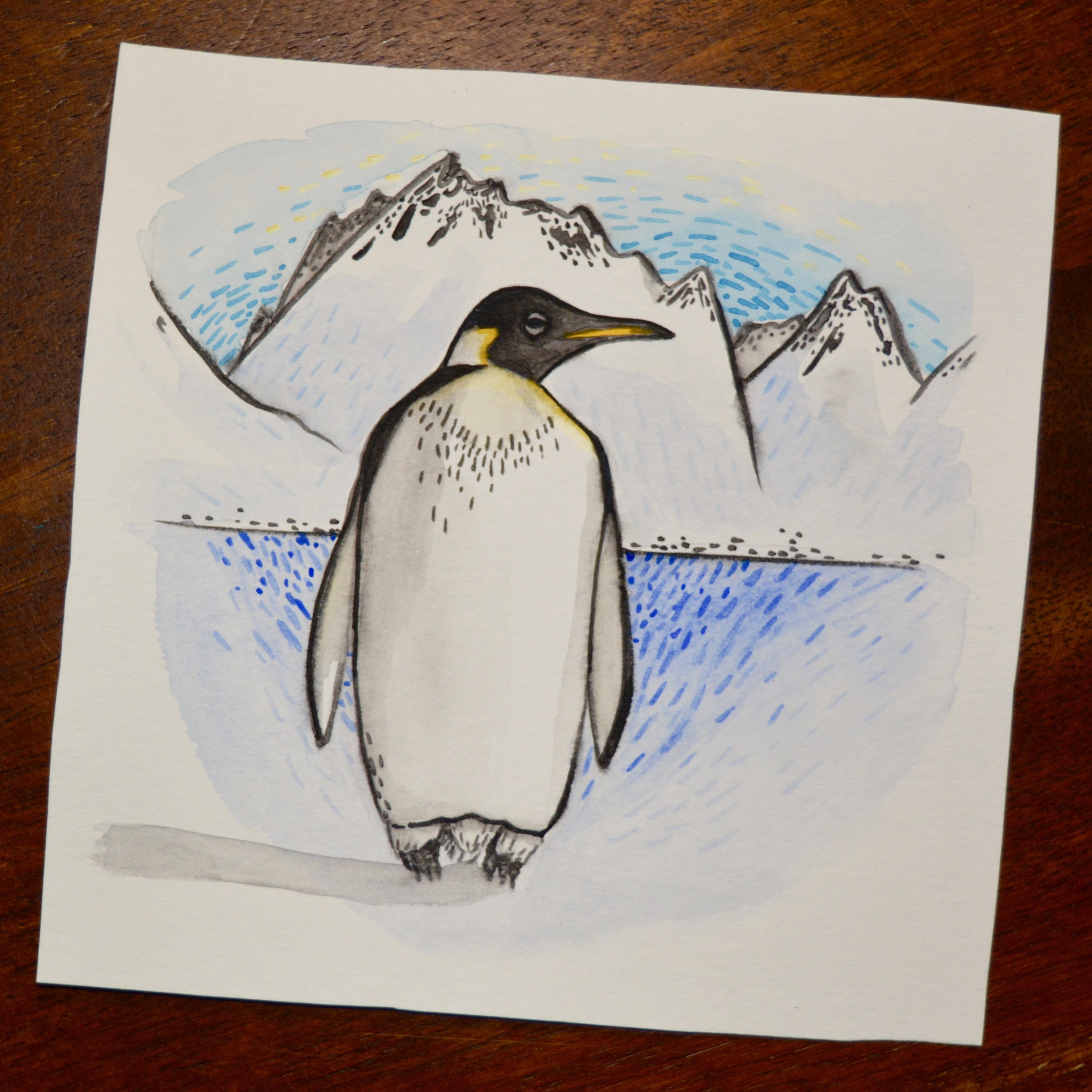 "World Penguin Day Giveaway ""Sketch"" Painting"