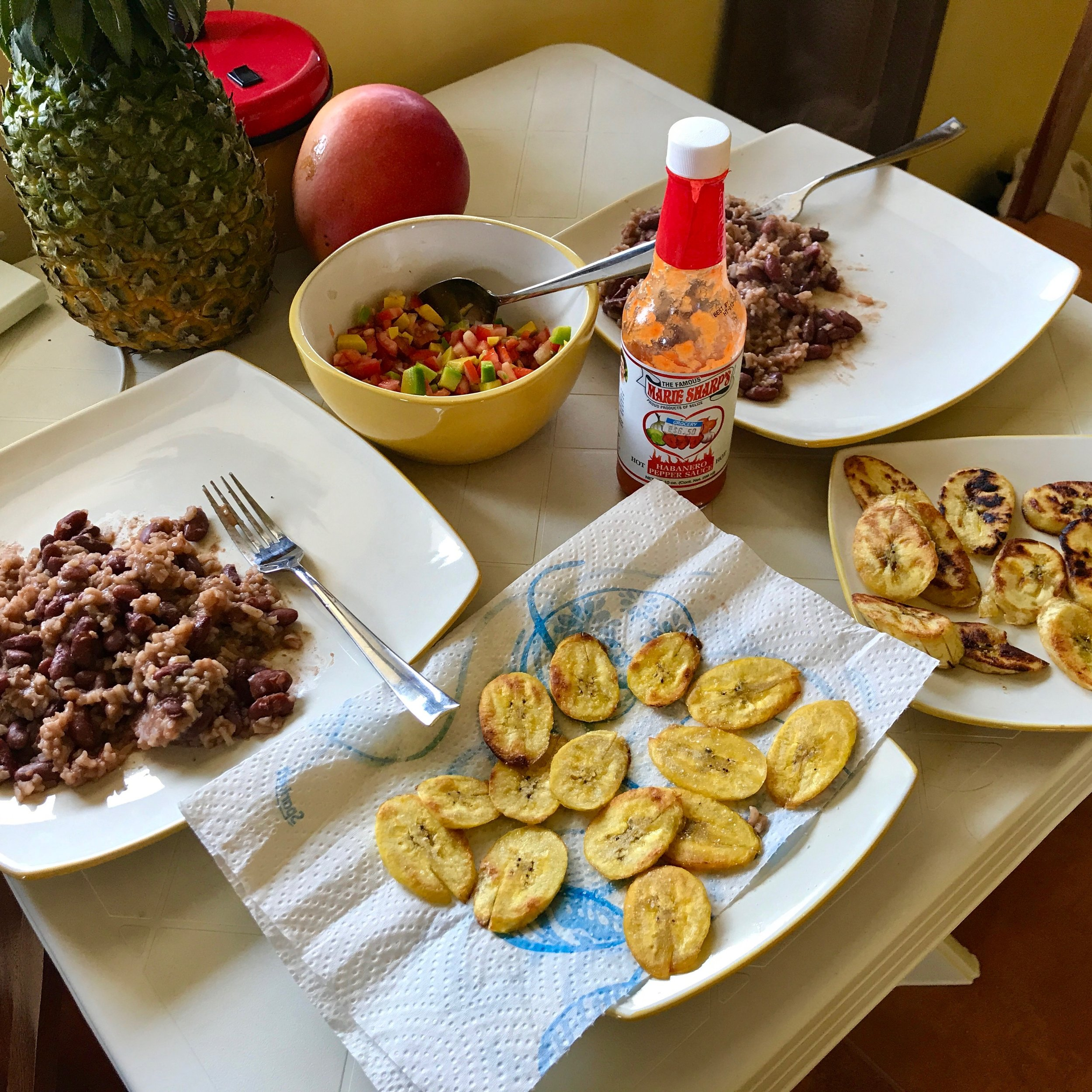 A typical meal we cooked in Placencia