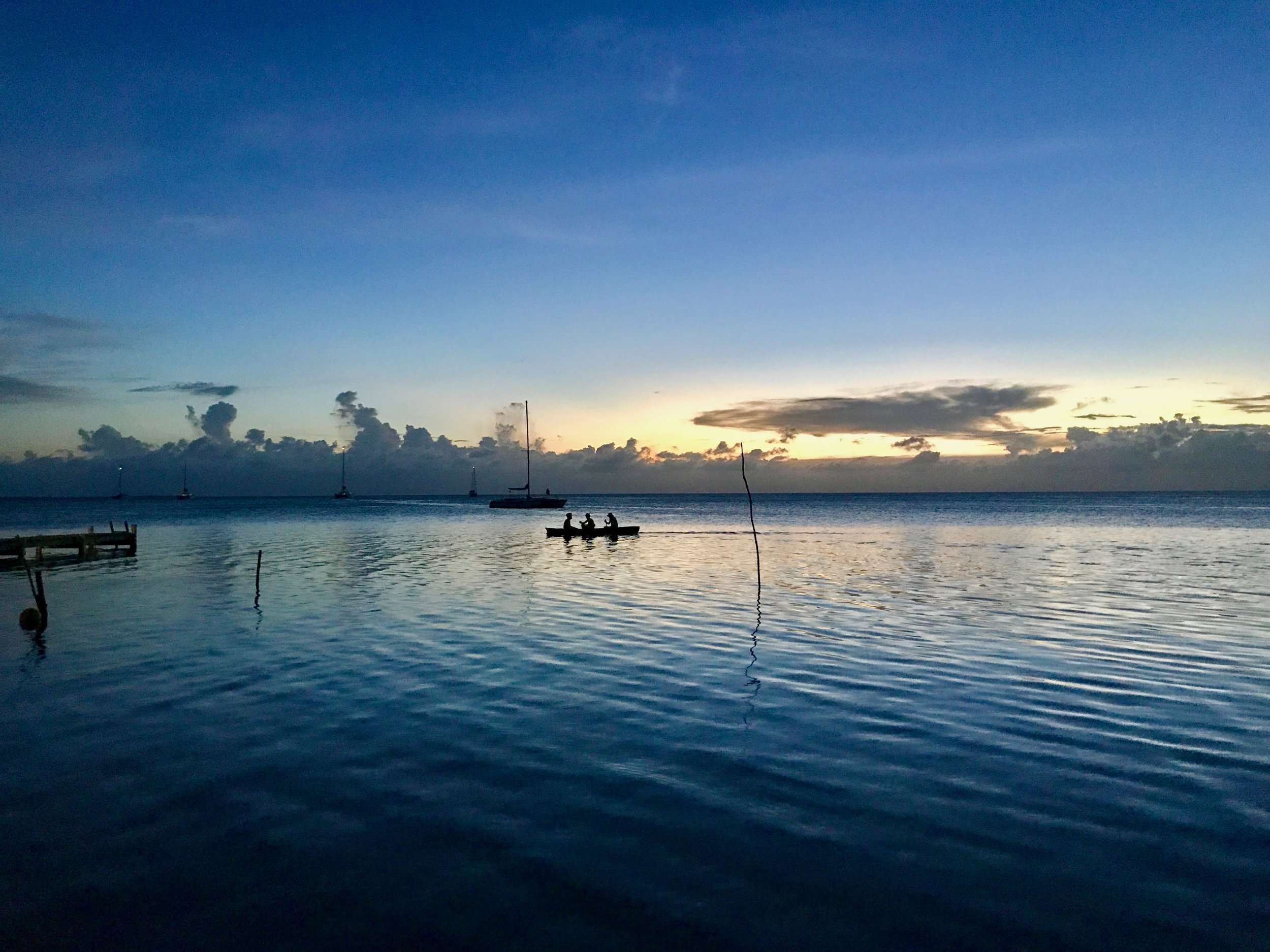 Sunset along Caye Caulker's west side