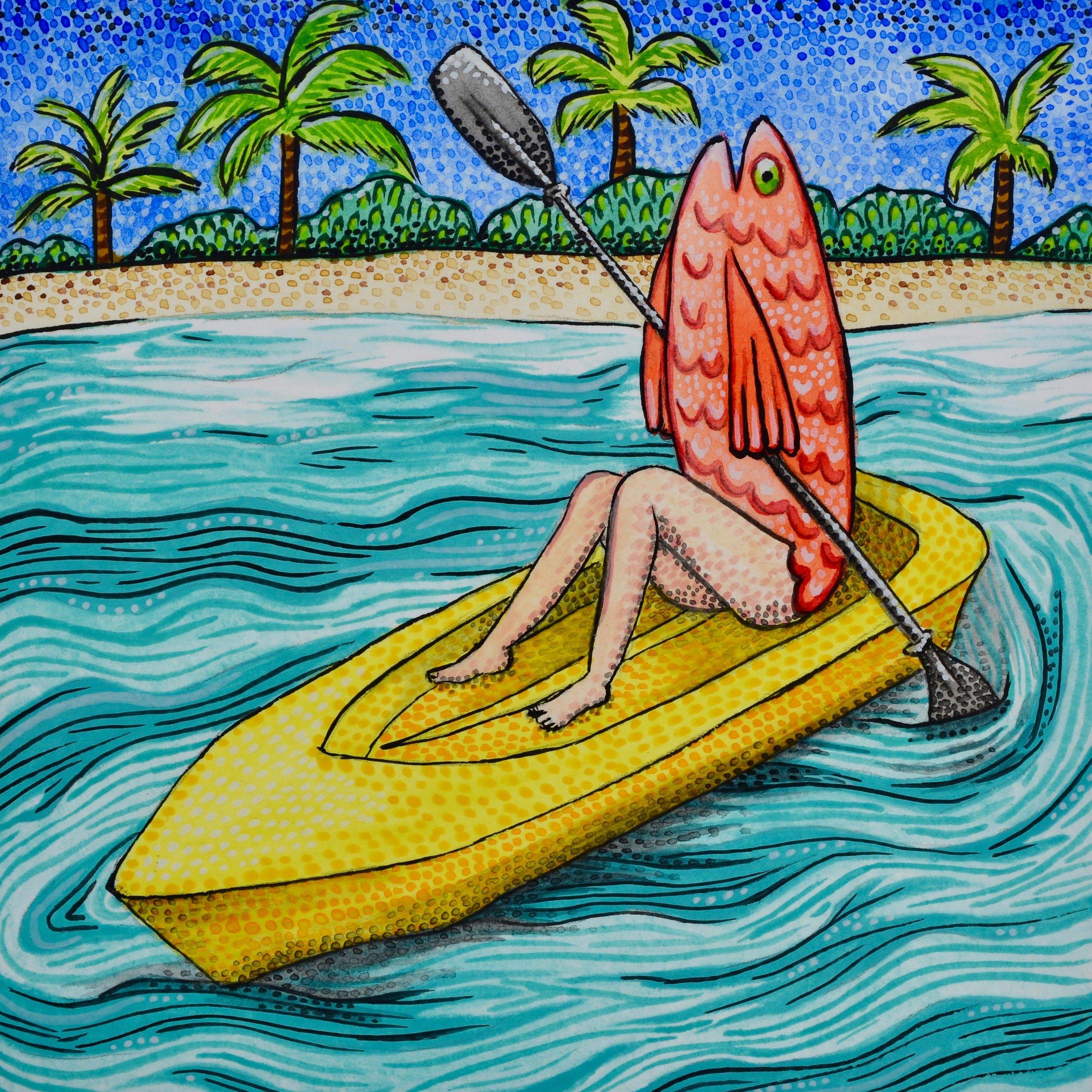 El Pescado está en un Kayak