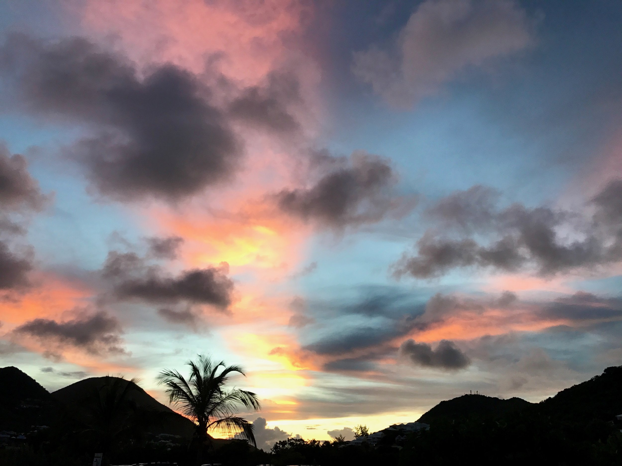 The beautiful sunset on our last night in Saint-Martin