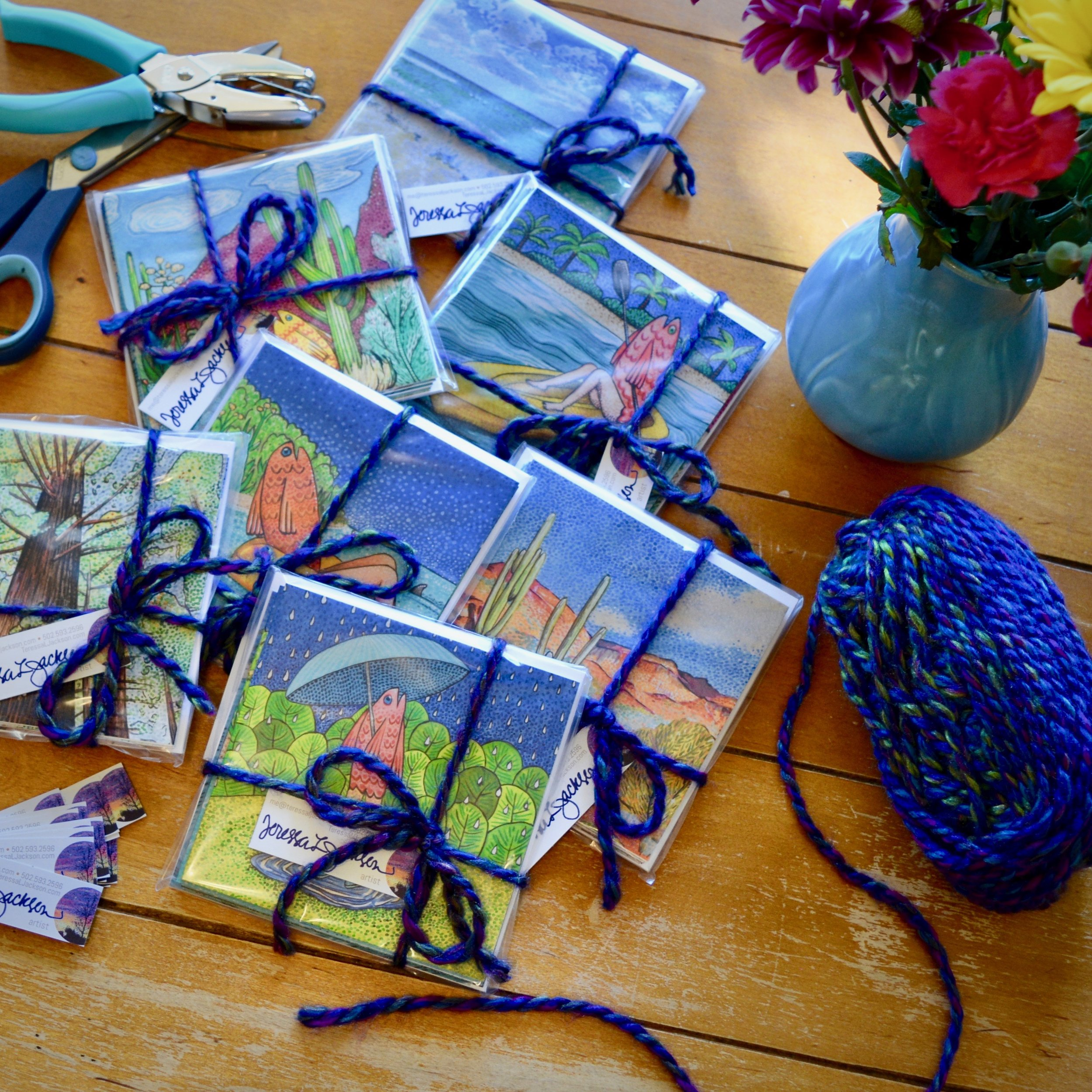 Hard at work packaging up those new greeting cards!