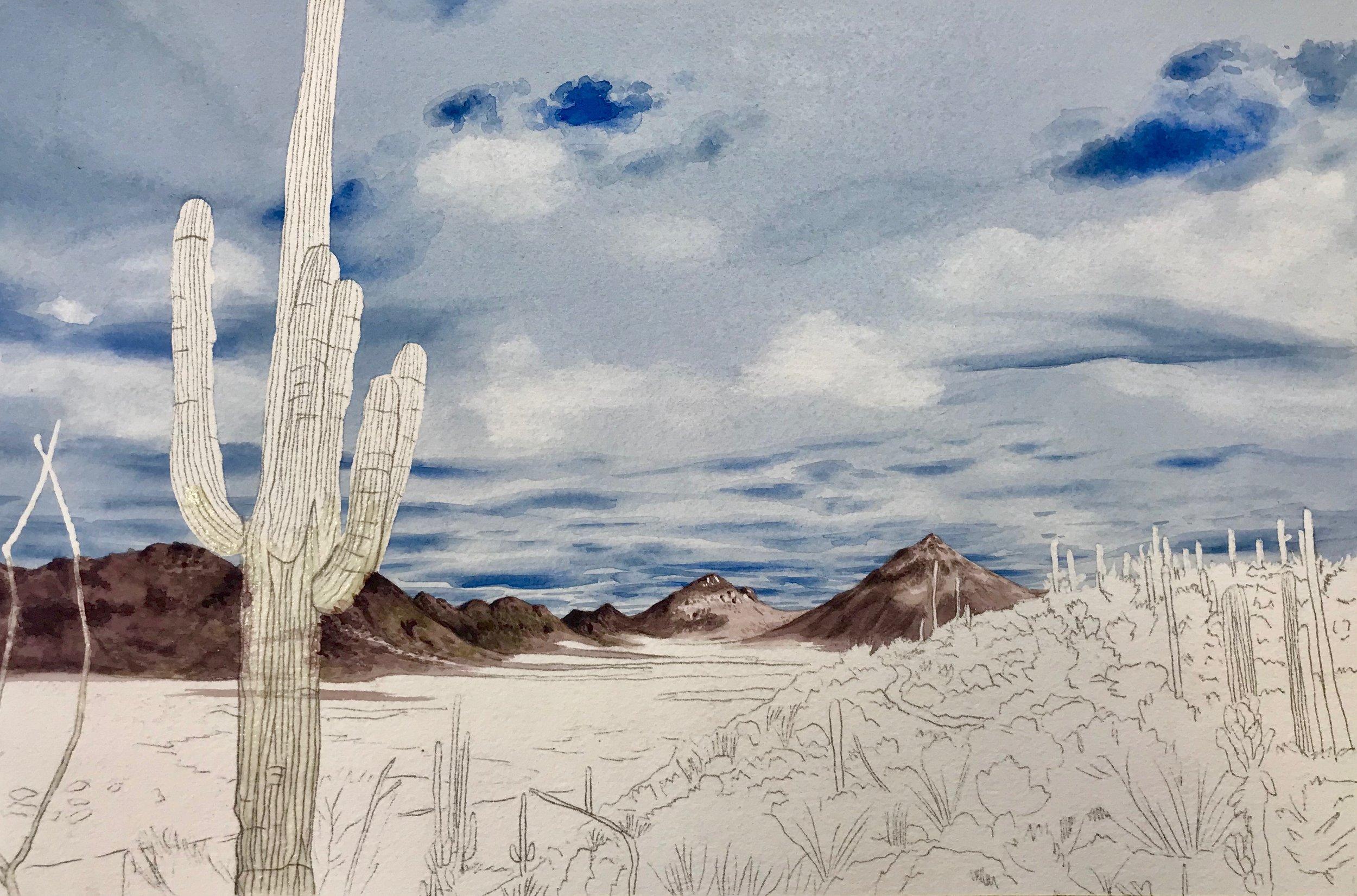 Work in progress from my watercolor class
