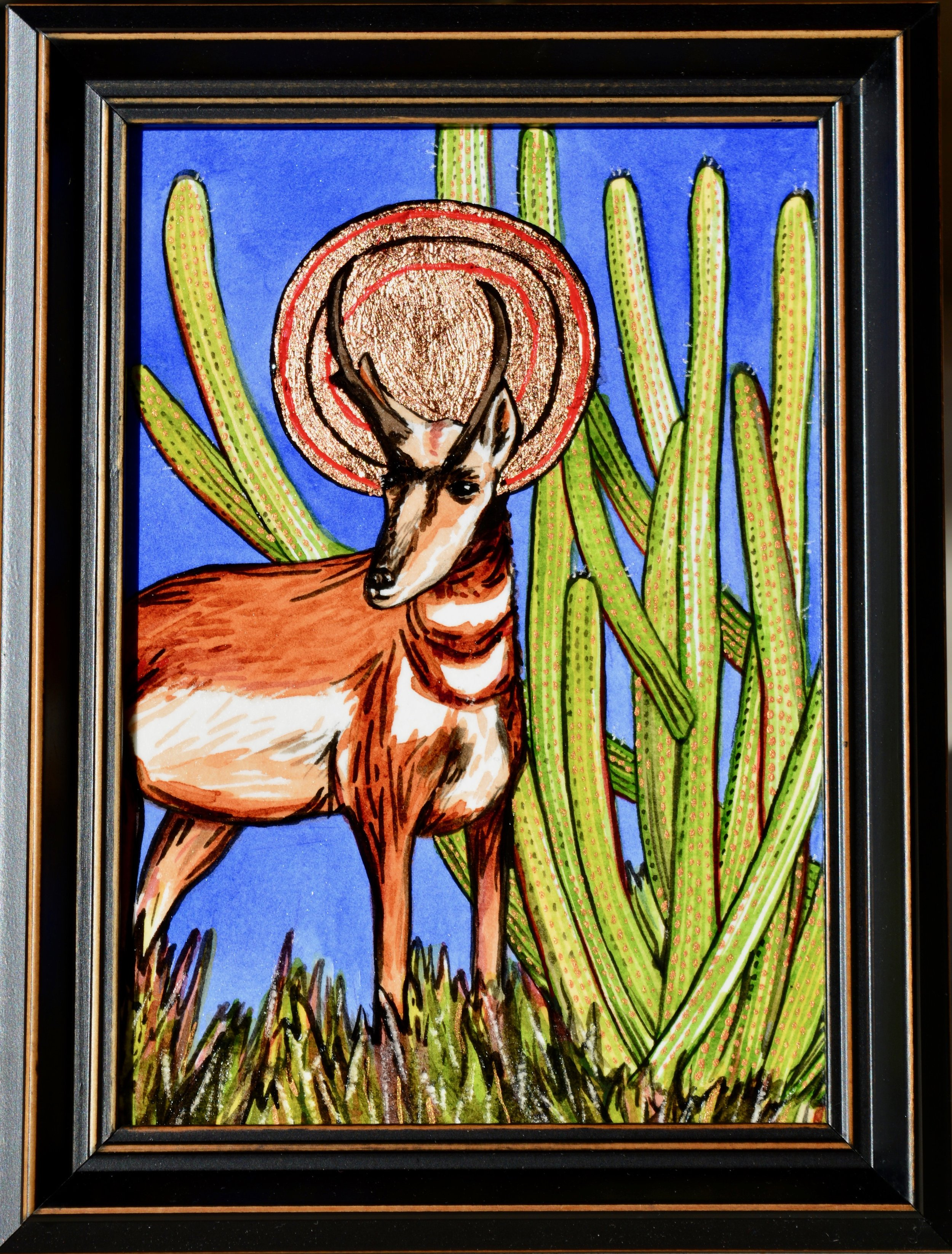 Sonoricons: Sonoran Pronghorn Antelope Available for purchase at  Raices Taller 222 Art Gallery & Workshop  during the month of December 2018