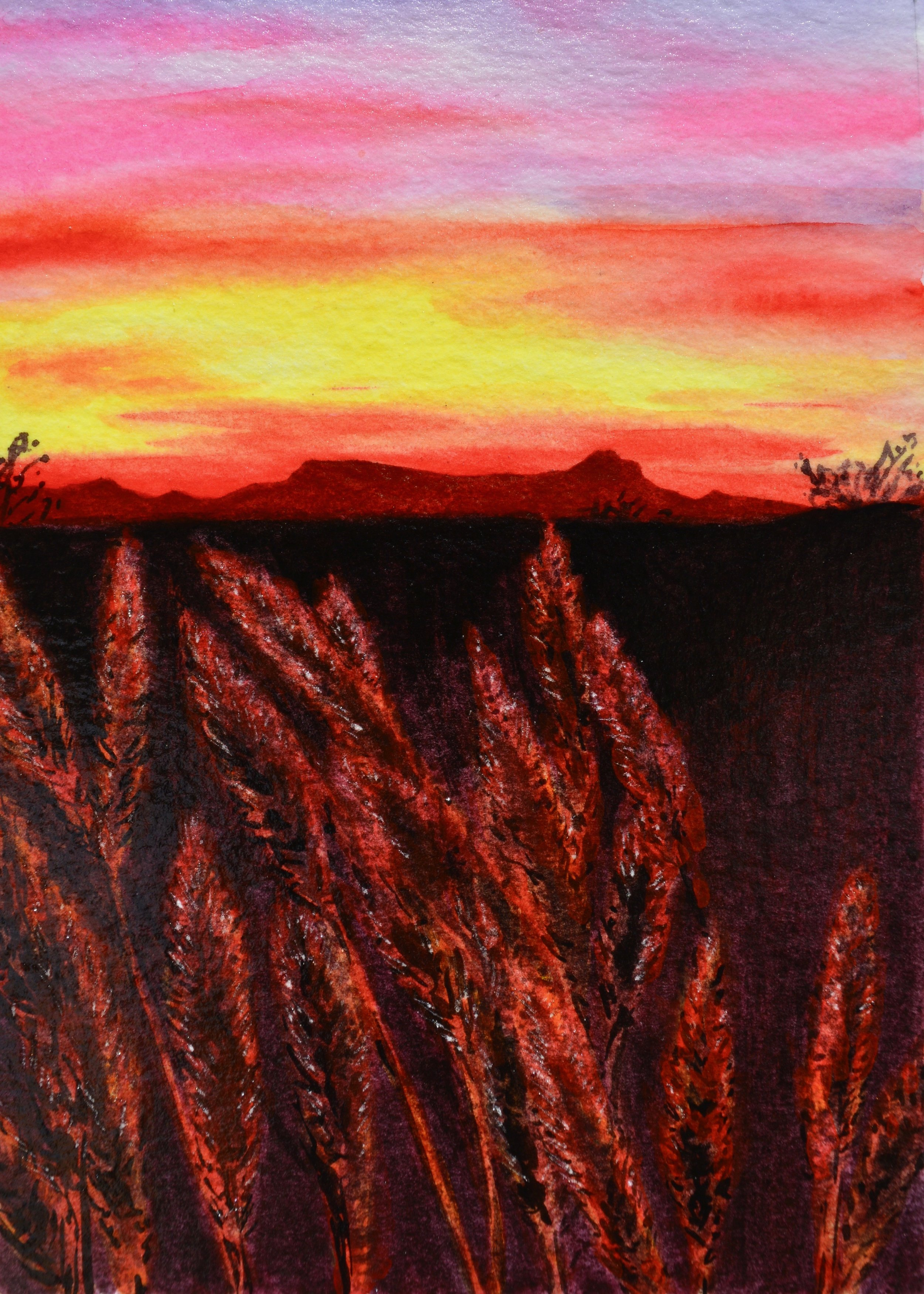 """Sunset over Sombrero Peak""  For sale as of this blog posting  5x7"""