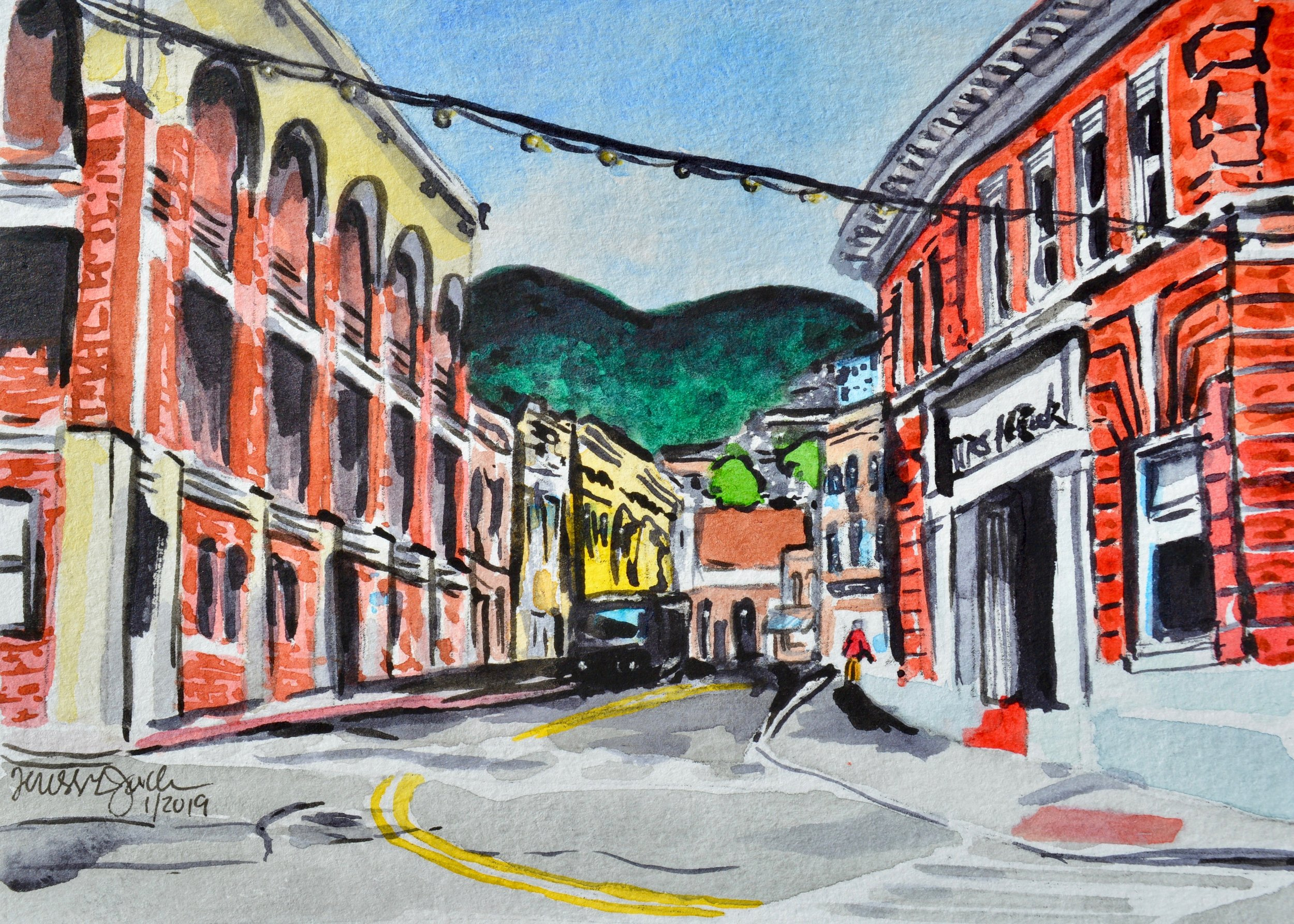 """One Main Street, Bisbee, Arizona""  For sale as of this blog posting  7x5"""