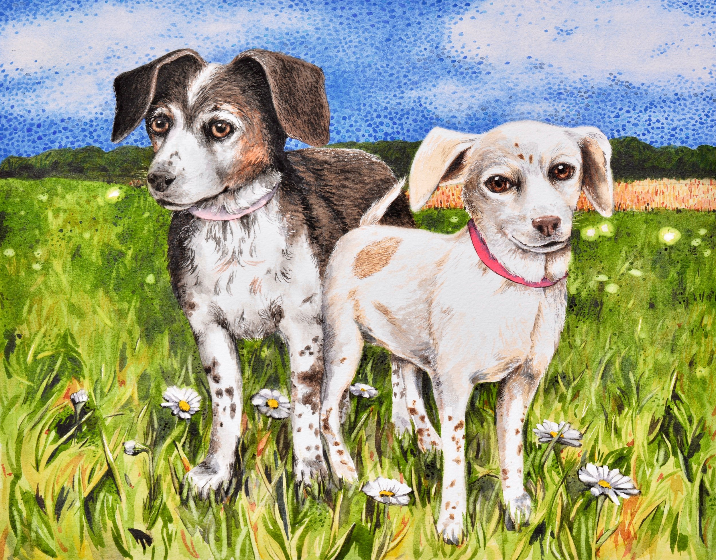 """Maggie May and Ginger Afield"" SOLD (Commission) 14x11"""