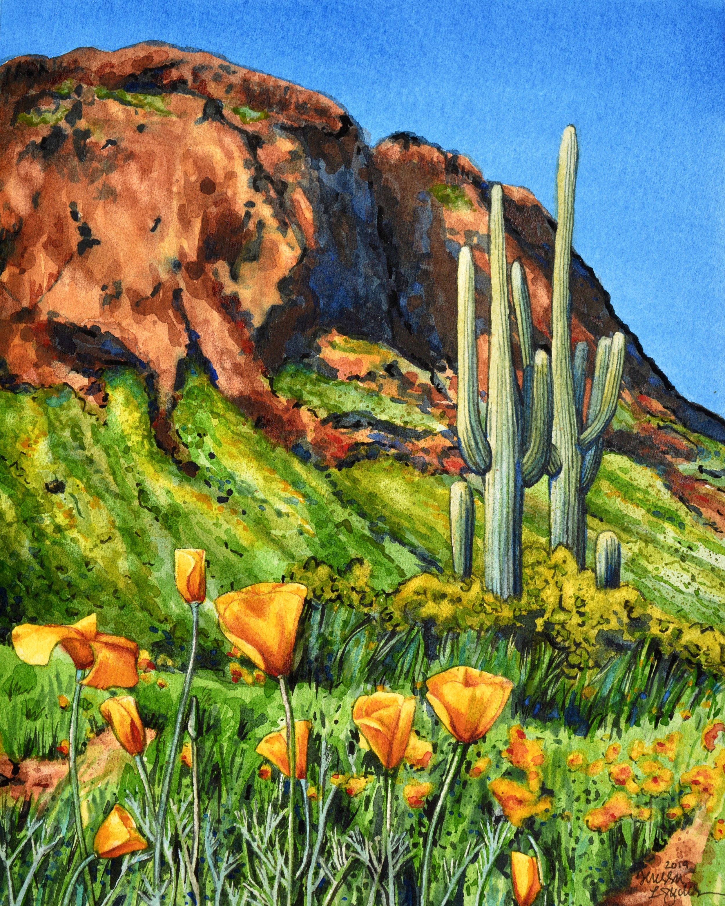 """Picacho Spring"" 8x10"" watercolor on Fabriano 300 lb. paper For sale as of this blog posting -  visit my online shop  to purchase."