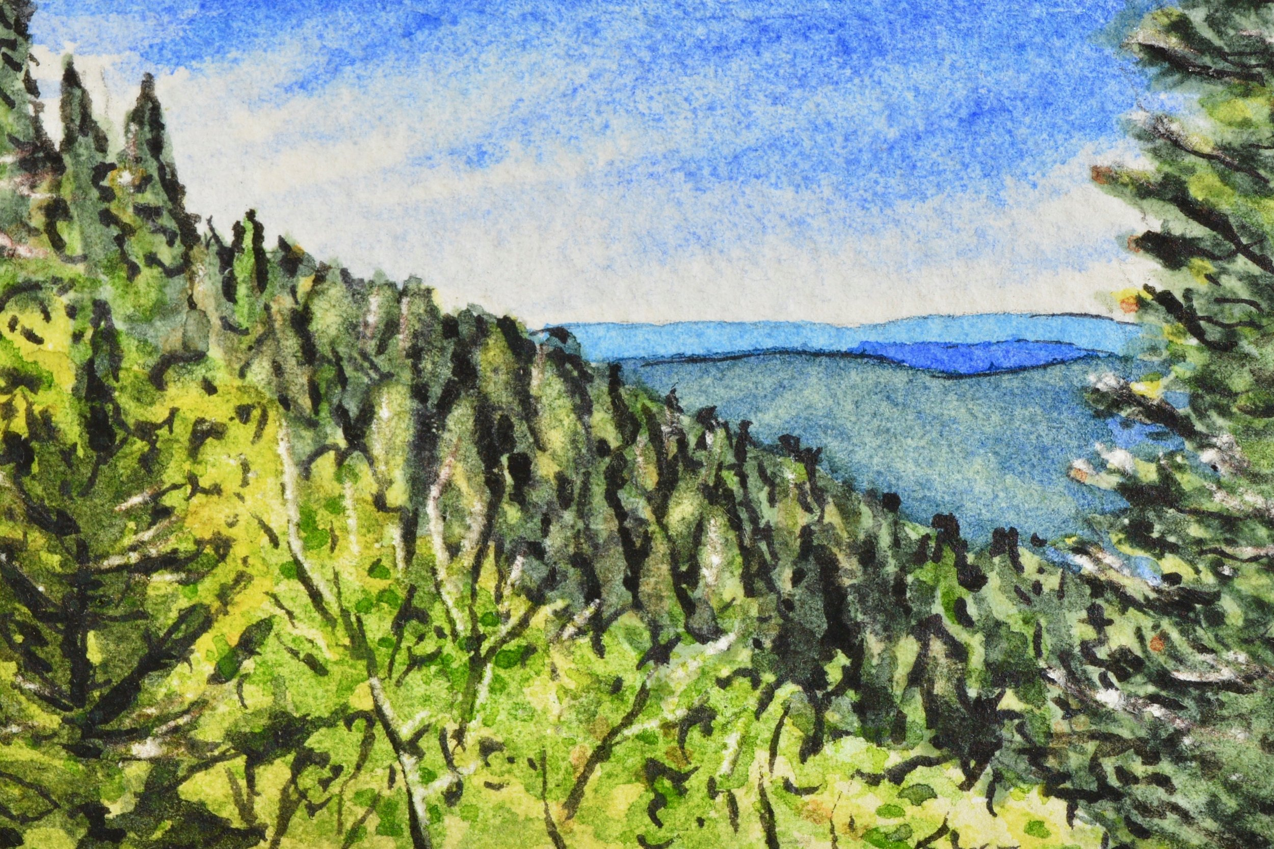"""Mogollon Rim, Payson, Arizona: 6/7/19, 10:28:36"" 2x3"" watercolor on Fabriano 300 lb. paper For sale as of this blog posting -  visit my online shop  to purchase."