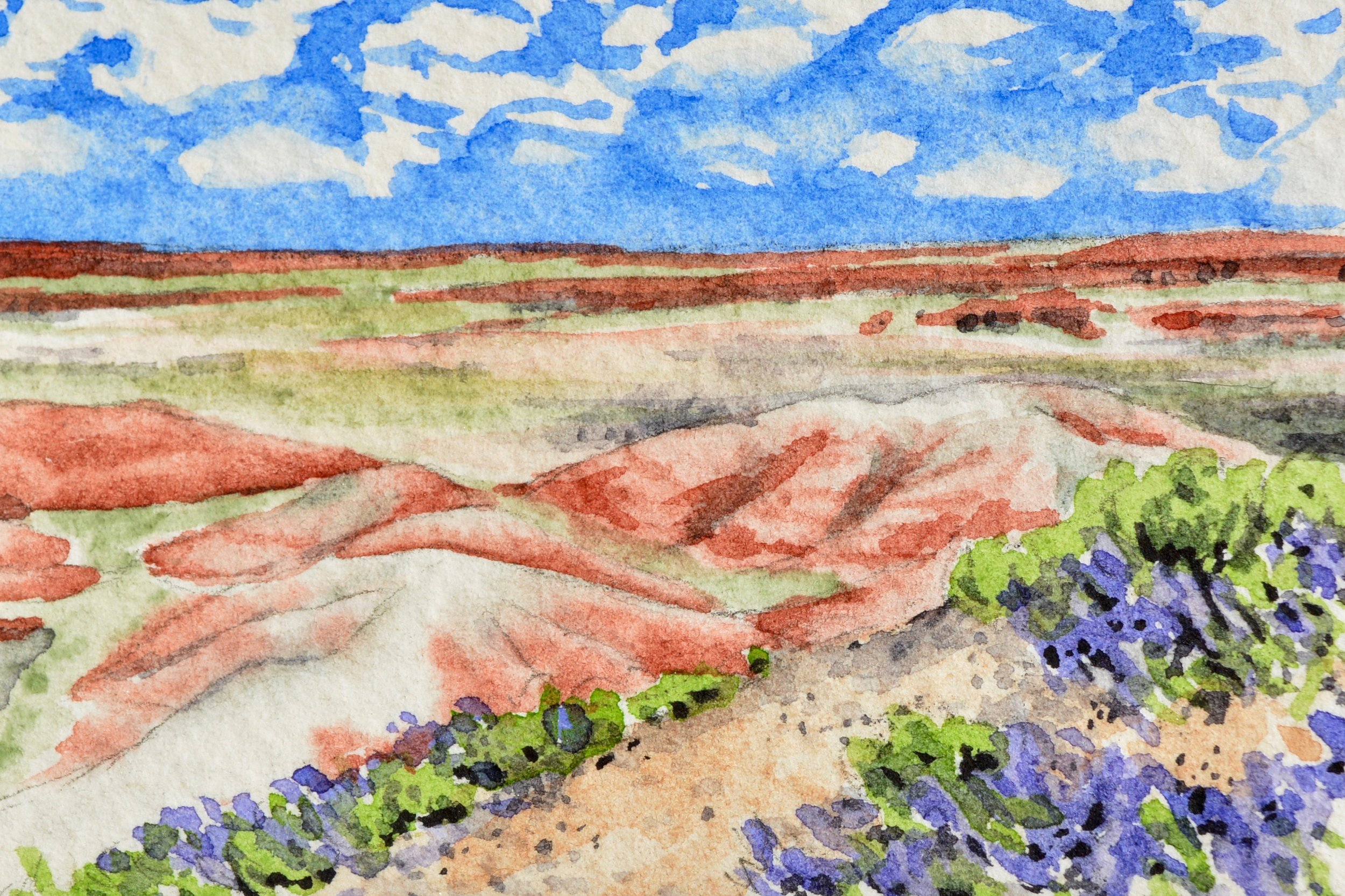 """Petrified Forest National Park, Arizona: 6/7/19, 13:50:18"" 2x3"" watercolor on Fabriano 300 lb. paper For sale as of this blog posting -  visit my online shop  to purchase."