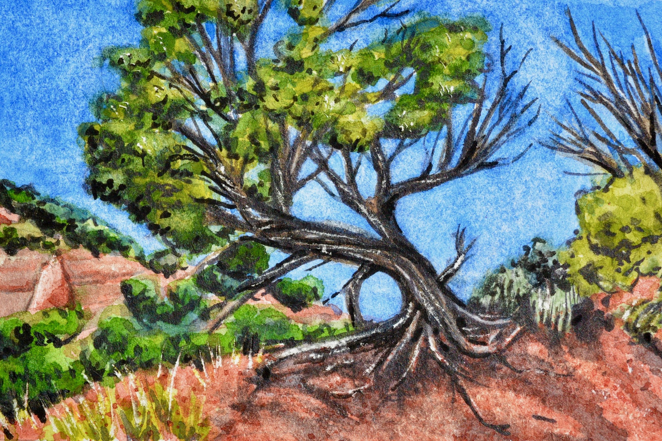 """Red Rock Park, Gallup, New Mexico: 6/11/19, 14:59:23"" 2x3"" watercolor on 140 lb. watercolor paper For sale as of this blog posting -  visit my online shop  to purchase."
