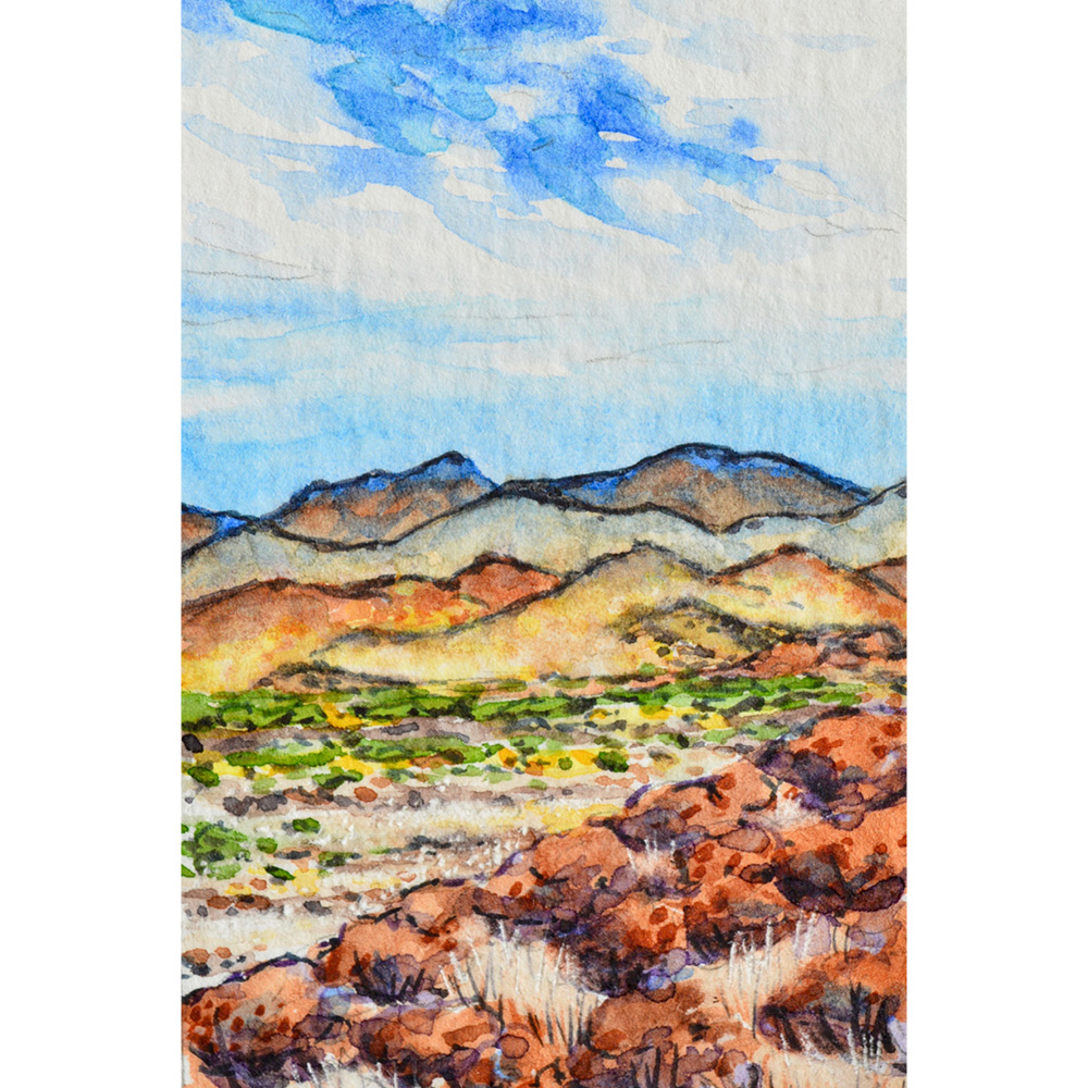 """Superior, Arizona: 5/10/19, 7:45:43"" 2x3"" watercolor on 140 lb. watercolor paper For sale as of this blog posting -  visit my online shop  to purchase."