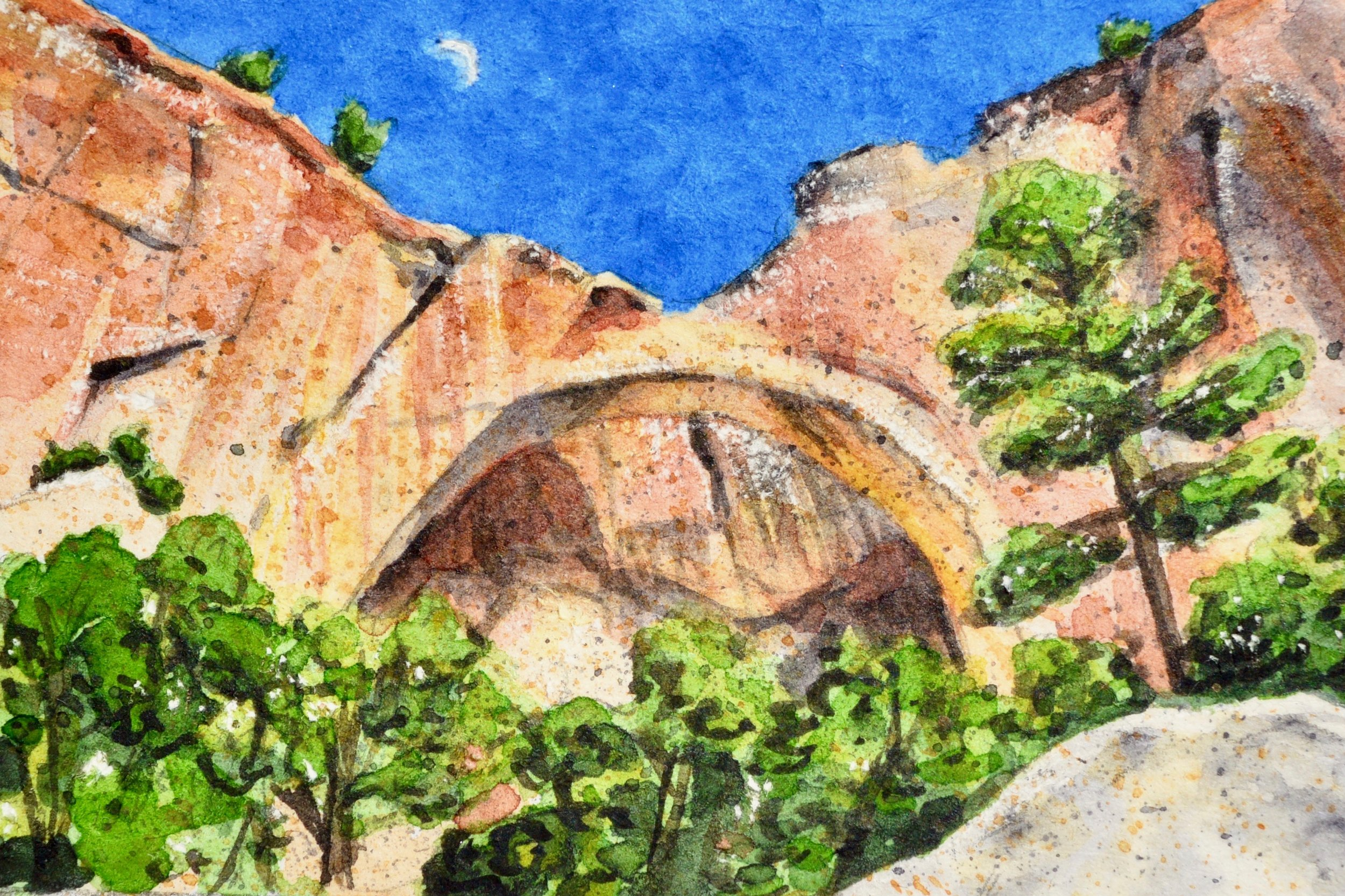"""La Ventana Natural Arch, El Malpais National Monument, Grants, New Mexico: 6/8/19, 15:01:39"" 3x2"" watercolor on 140 lb. watercolor paper For sale as of this blog posting -  visit my online shop  to purchase."