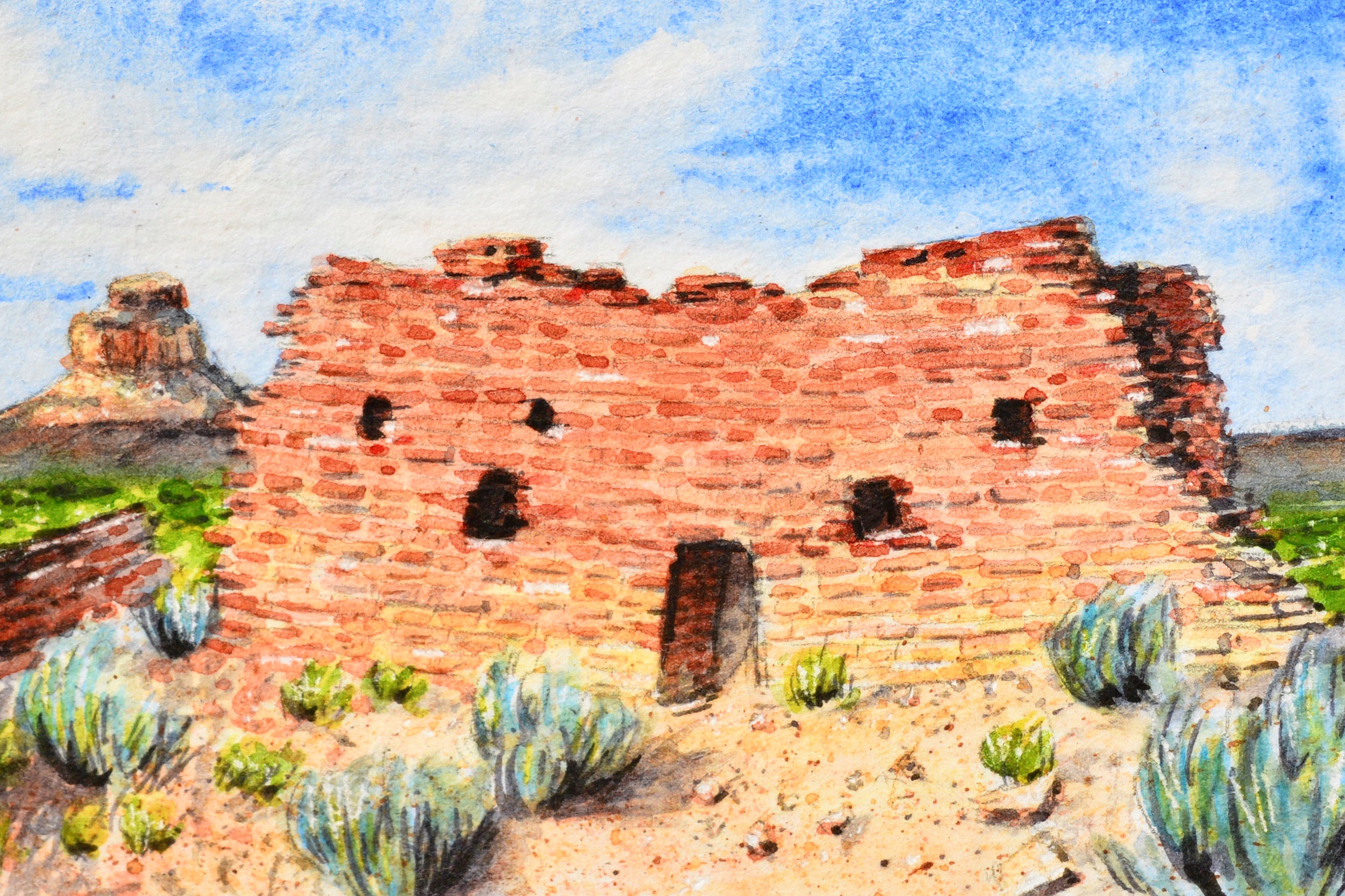 """Chaco Culture National Historical Park, New Mexico: 6/10/19, 8:22:19"" 3x2"" watercolor on 140 lb. watercolor paper For sale as of this blog posting -  visit my online shop  to purchase."