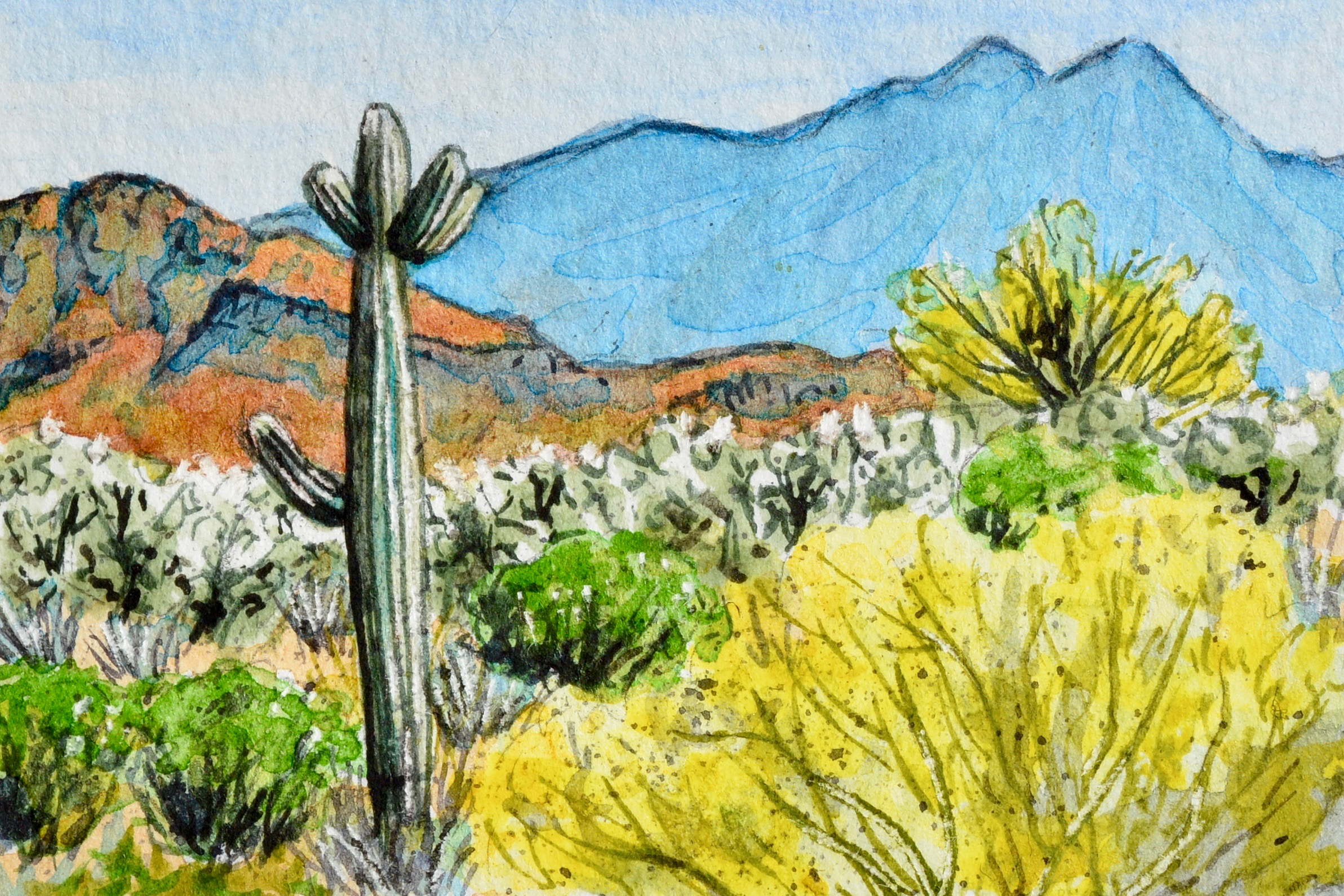 """Superior, Arizona: 5/10/19, 10:30:06"" 3x2"" watercolor on 140 lb. watercolor paper For sale as of this blog posting -  visit my online shop  to purchase."