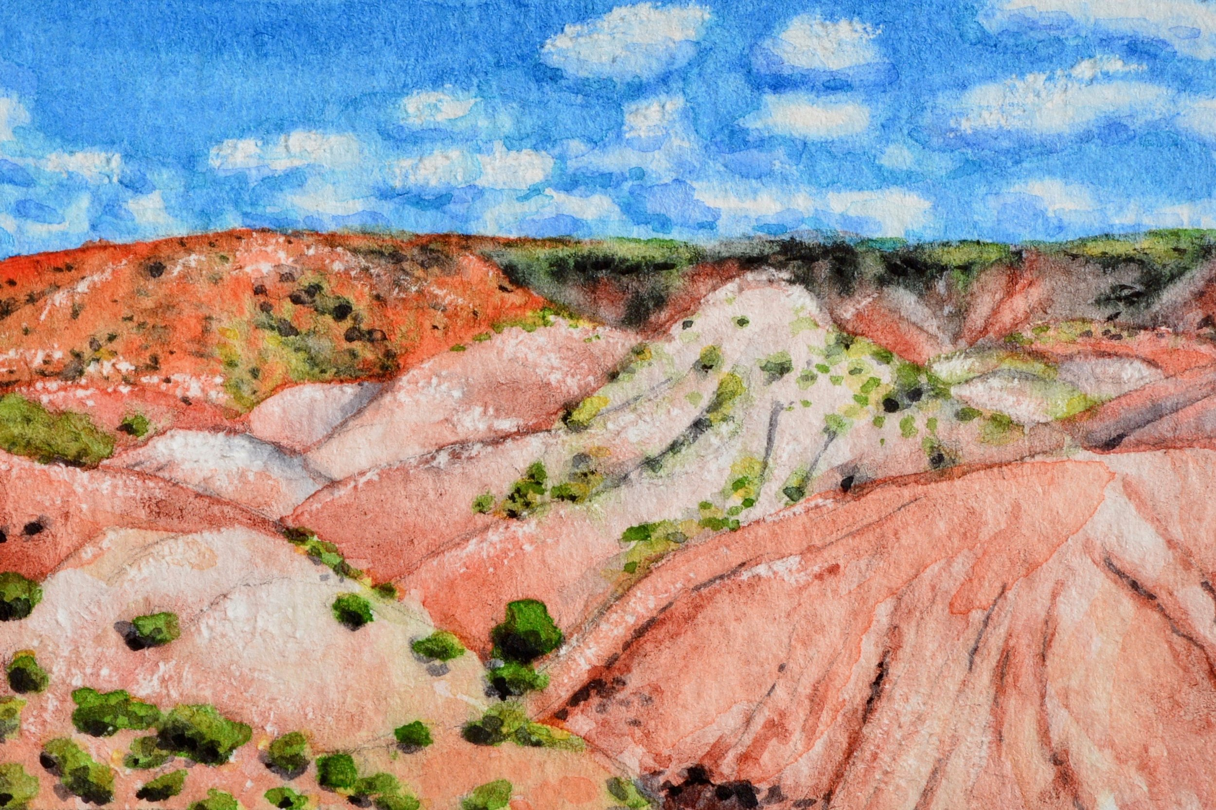 """Petrified Forest National Park, Arizona: 6/7/19, 12:44:05"" 3x2"" watercolor on 140 lb. watercolor paper For sale as of this blog posting -  visit my online shop  to purchase."