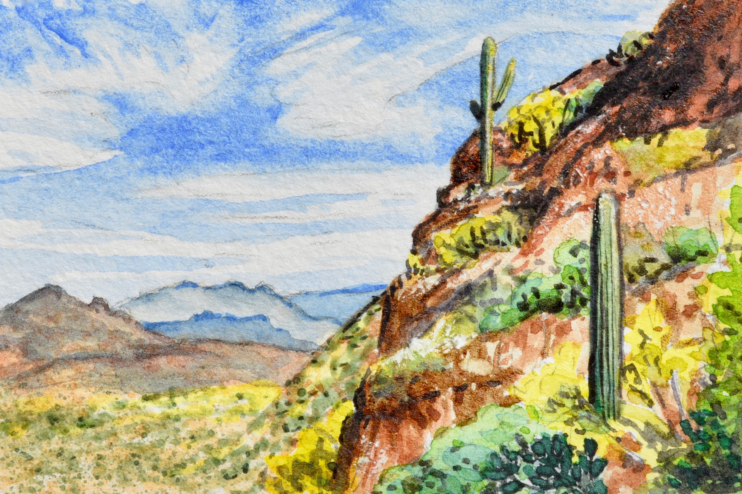 """Mesa, Arizona: 5/12/19, 09:21:08"" 3x2"" watercolor on 140 lb. watercolor paper For sale as of this blog posting -  visit my online shop  to purchase."