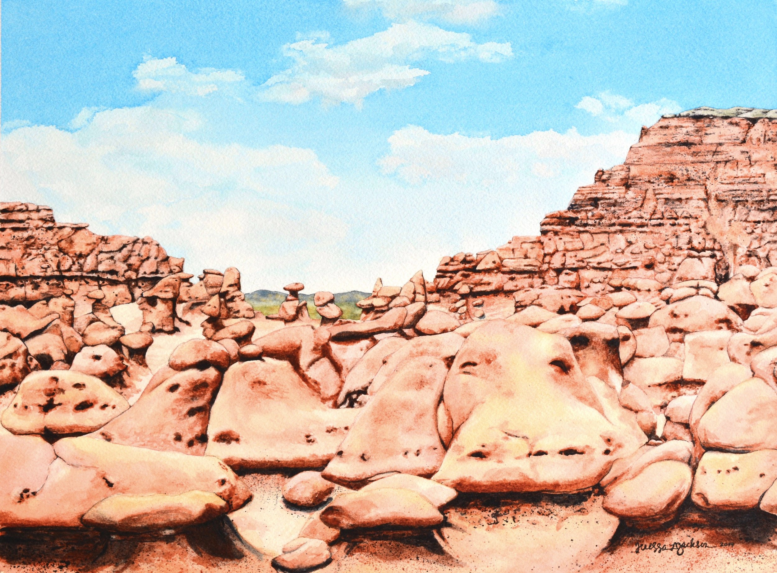 """Return to Goblin Valley"" 12x16"" watercolor on 140 lb. watercolor paper Available for purchase at  Raices Taller 222 Art Gallery & Workshop  until 9/7/19."