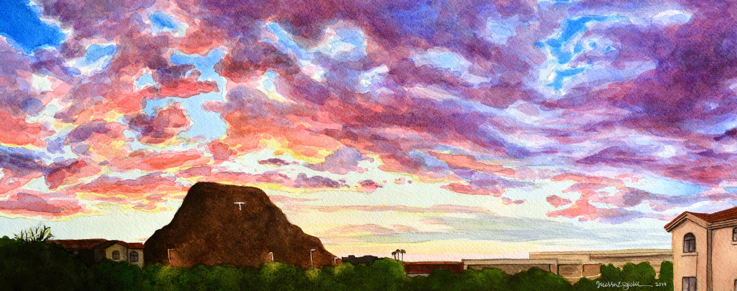 """""""T View"""" 20x8"""", Watercolor on 140 lb. Arches cold press watercolor paper This piece is on hold for upcoming exhibition."""